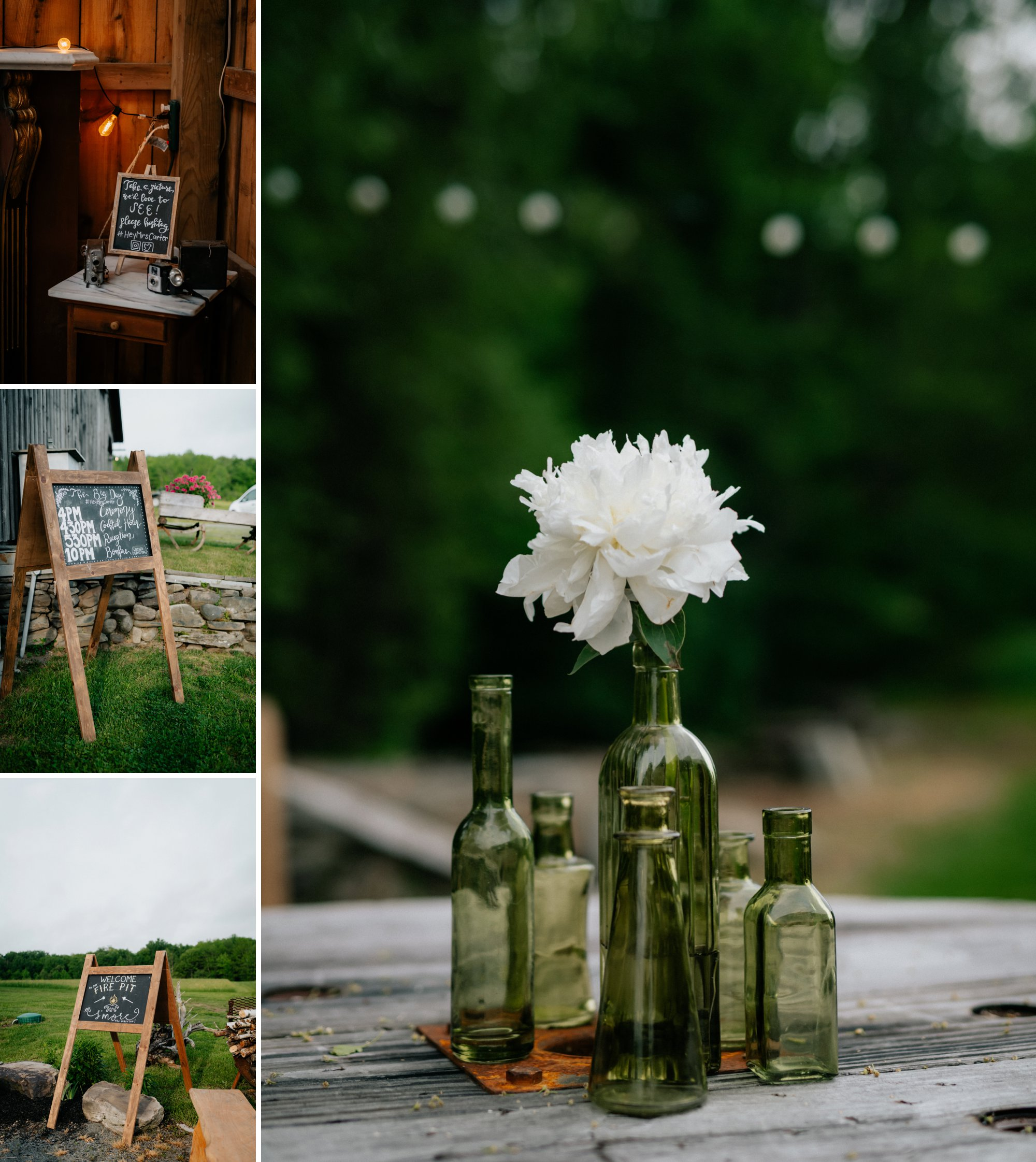 Fiddle Lake Farm Philadelphia Pennsylvania Misty Rustic Wedding with Lush Florals  Chalkboard Signage