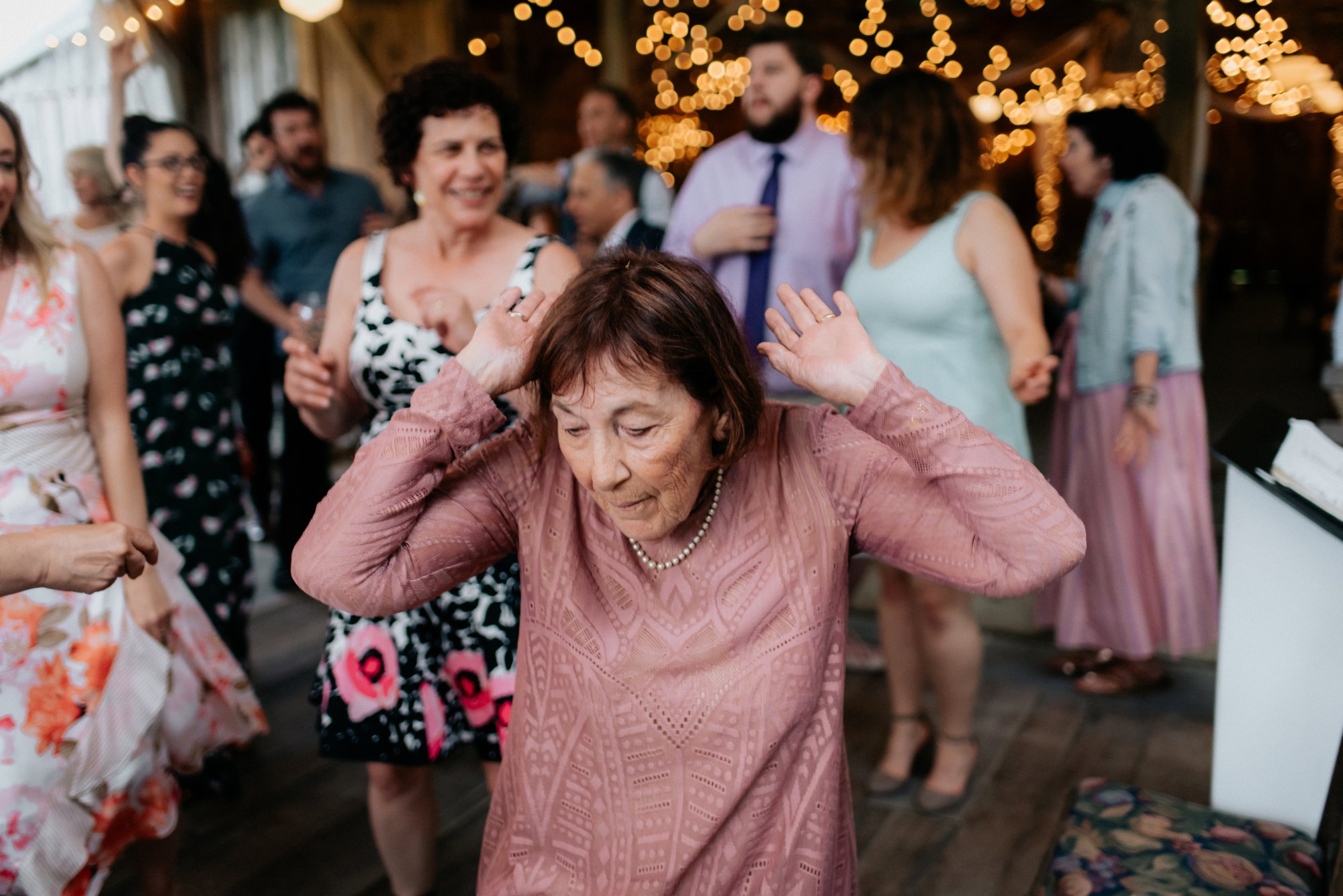 Fiddle Lake Farm Philadelphia Pennsylvania Misty Rustic Wedding with Lush Florals Grandma Flower Girl Dancing