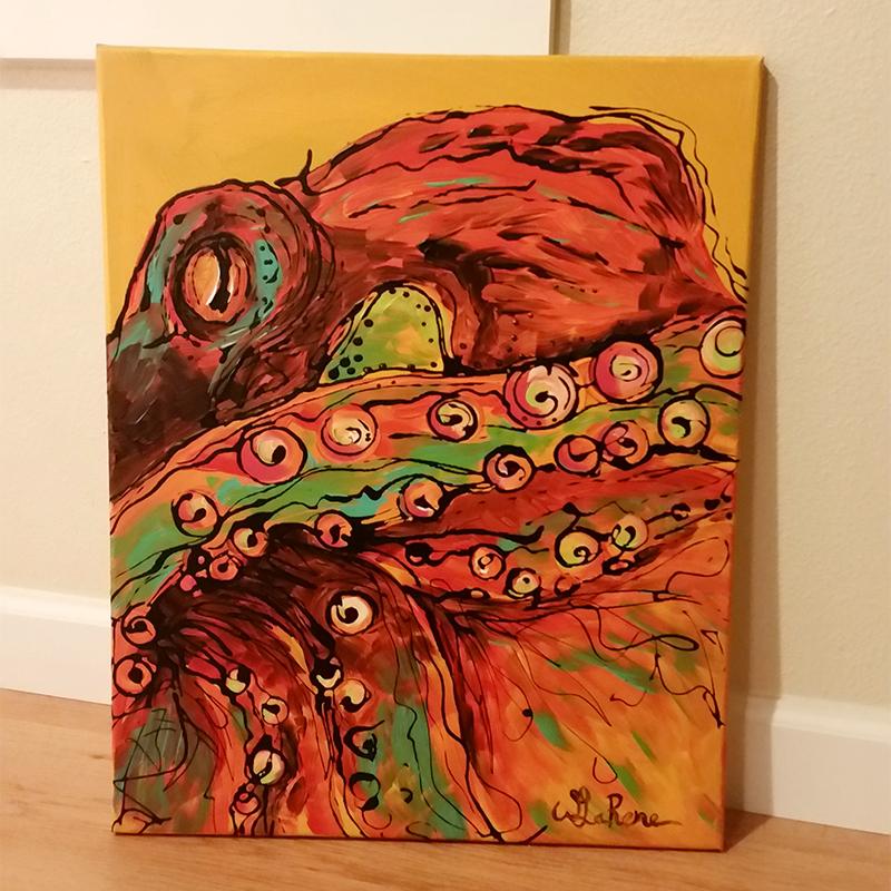 Red Octopus on Orange