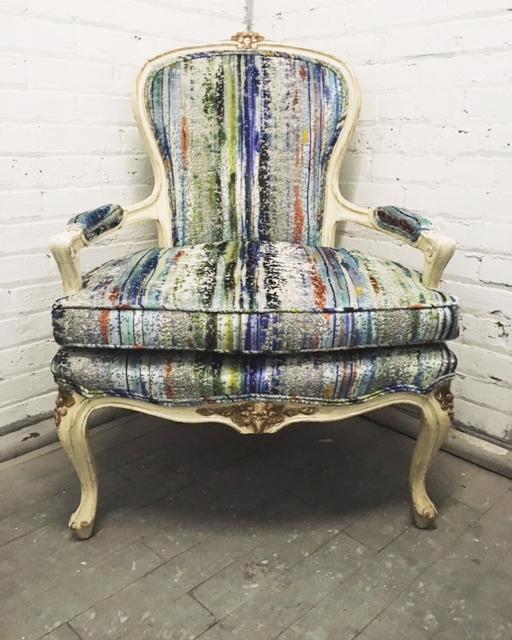 Recovered Interior Brushstroke Velvet Chair