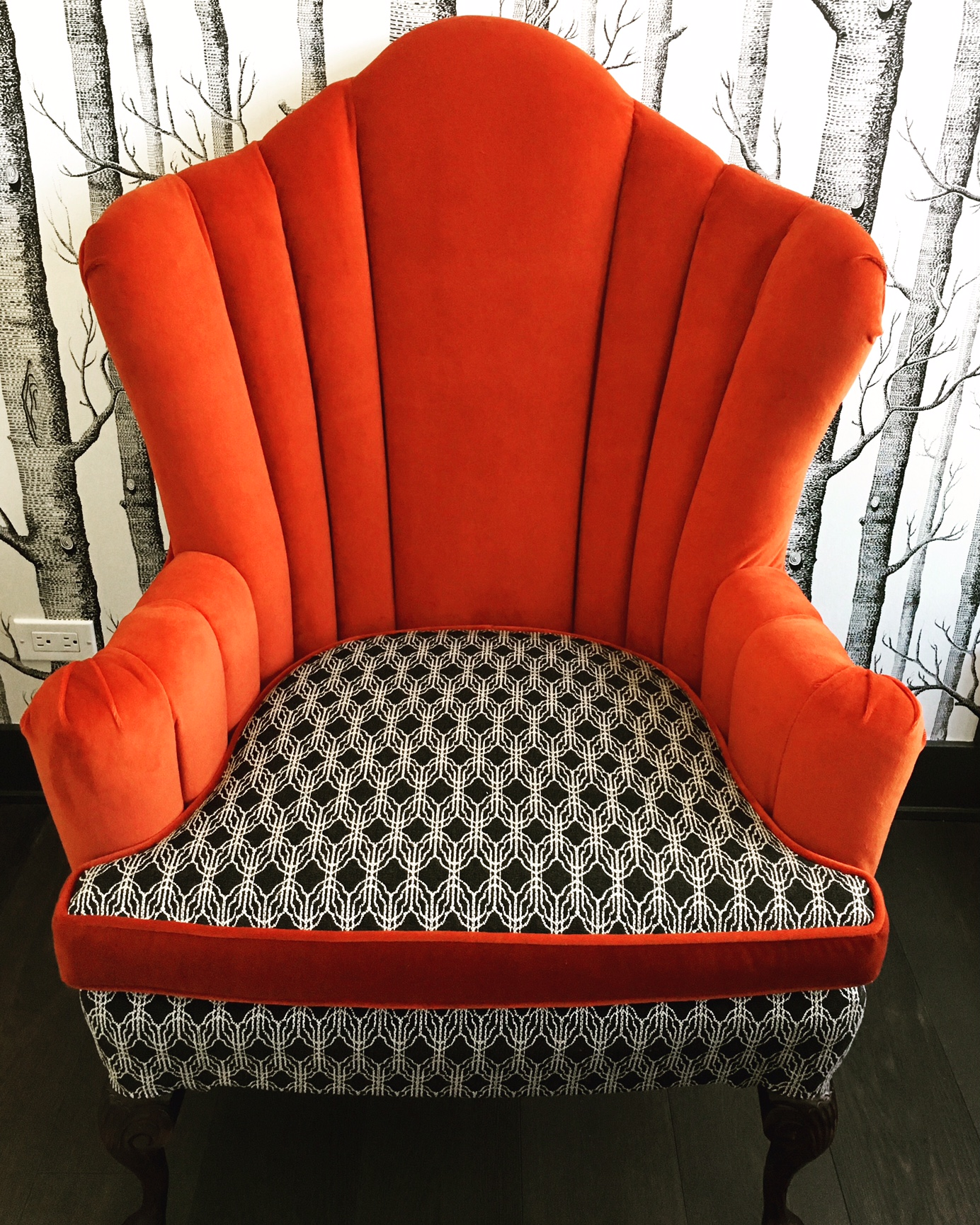 Recovered Interior Red Channel Tufted Chair