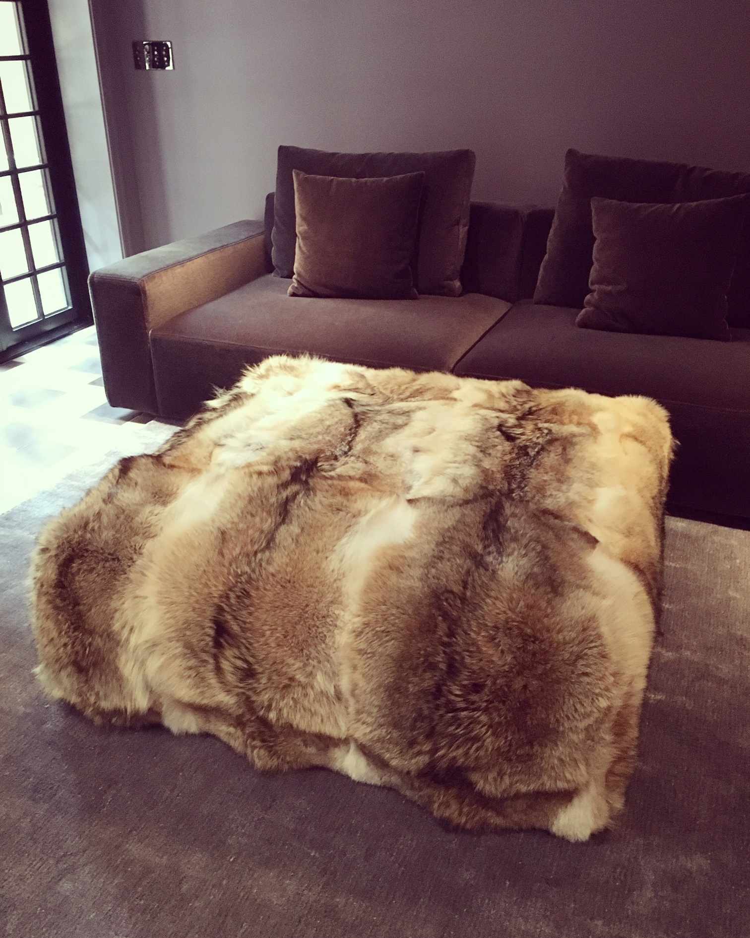 Recovered Interior Wolf Ottoman