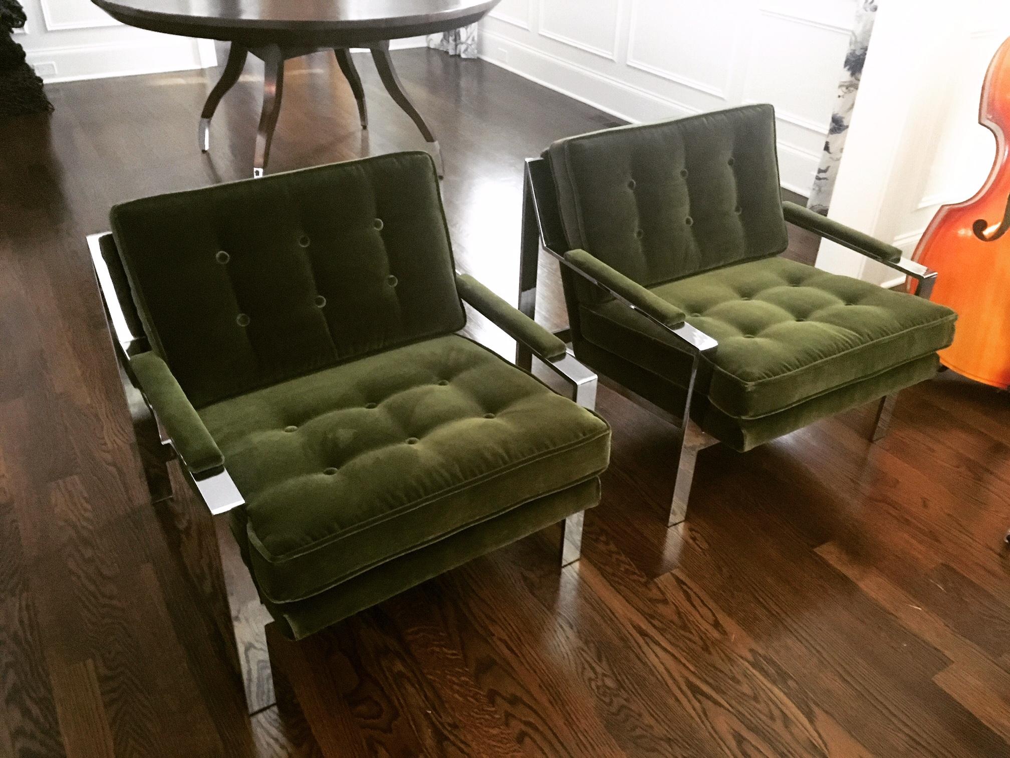 Recovered Interior Green Milo Baughman Pair
