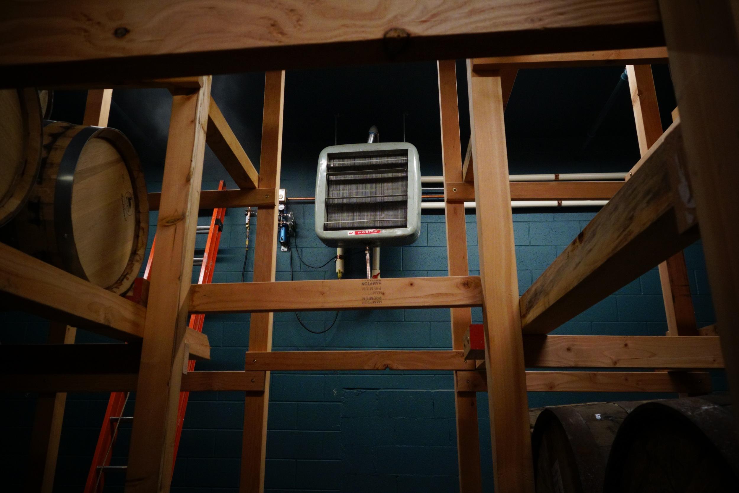 the radiator in the barrel room