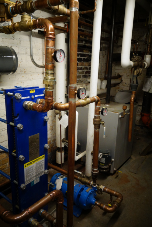 the heat exchanger and pumps