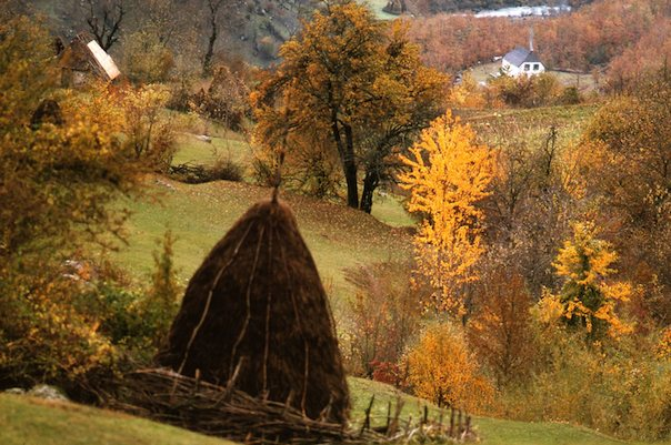 Haystack on a steep hillside