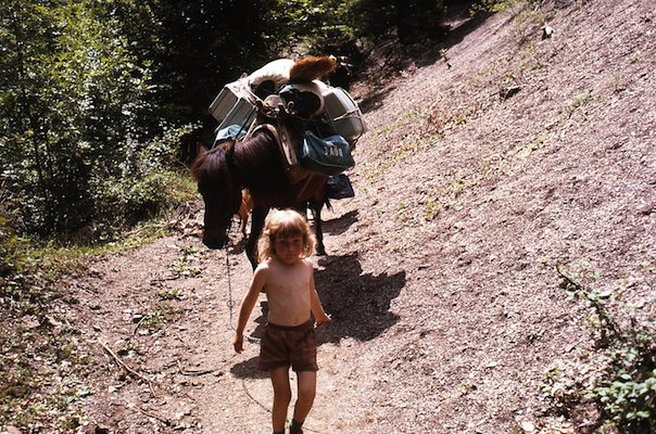 My daughter Jenny leads our pack horse (we were four and half hours by foot from the nearest road)