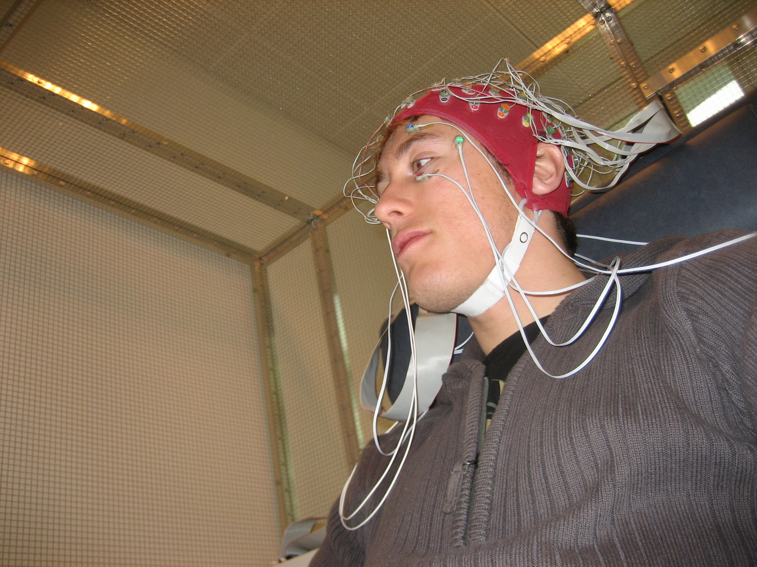 "Stefan Kluge in a EEG research procedure for the Free Culture feature film ""The Last Drug"""