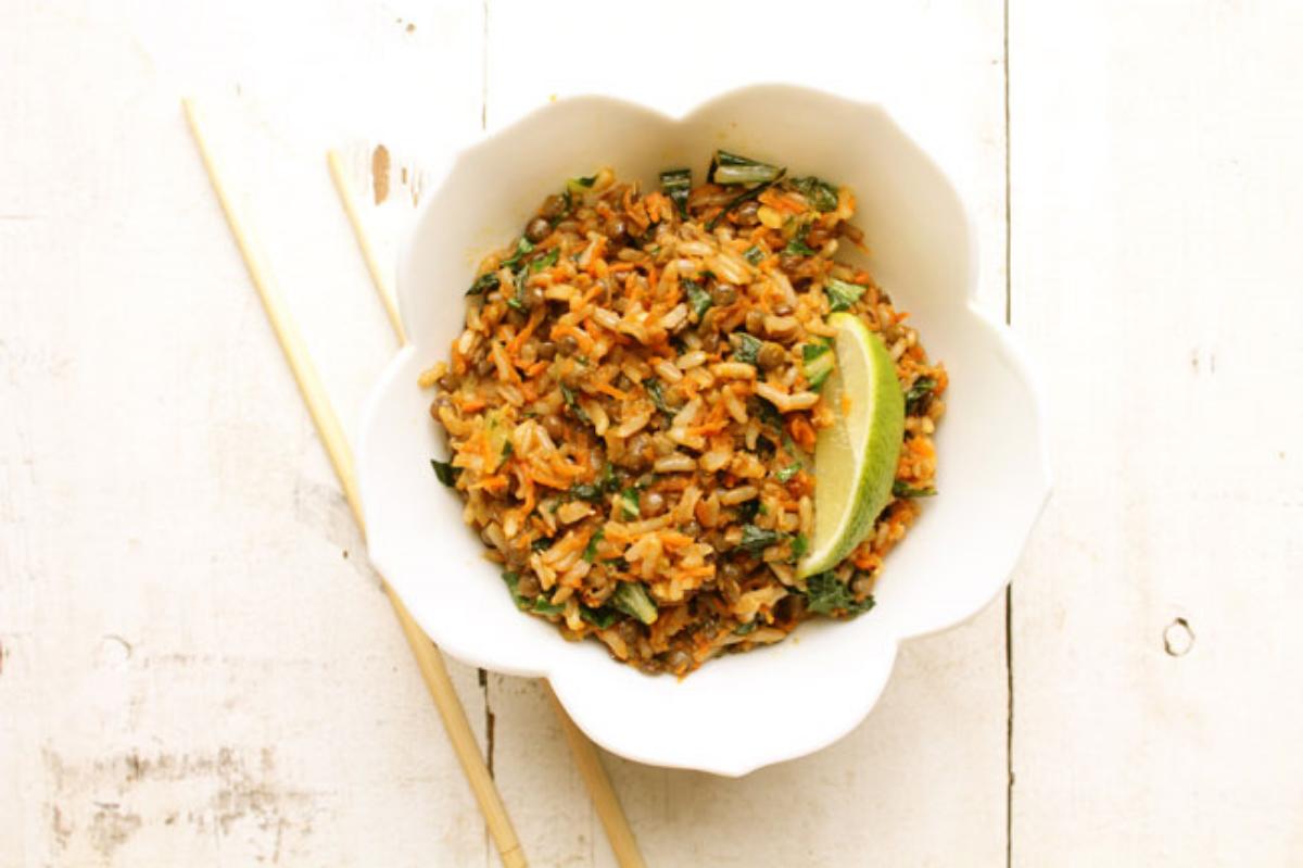 carrot ginger brown rice bowl