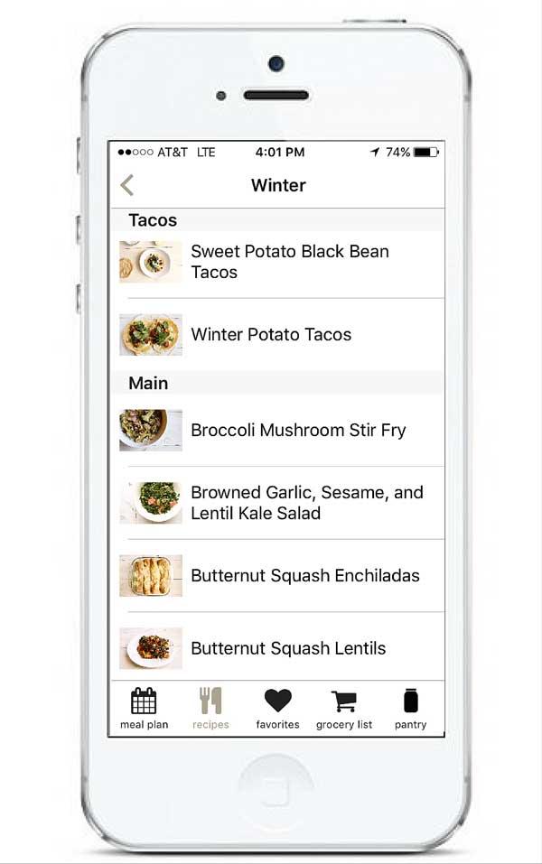 Recipe Archives in App