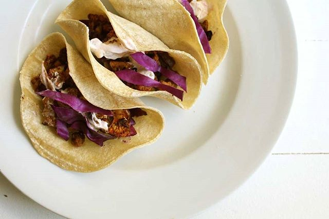 These tacos are so simple and quick I can hardly stand it. Throw your veggies in a pan with magical spices, add meat if you'd like, and throw in a tortilla with yogurt sauce which provides a boost of healthy probiotics, and raw cabbage for a boost of enzymes - both of which help with digestion and keep your stomach healthy and balanced. Login or subscribe for the recipe! #voedenlife #nourishedlife