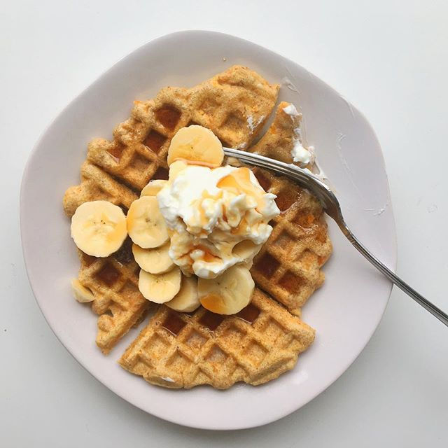 """It's a sweet potato waffle kind of morning. The """"4-serving"""" batch makes 8 waffles, which means I can stock my freezer and have waffles for days! #voedenlife"""