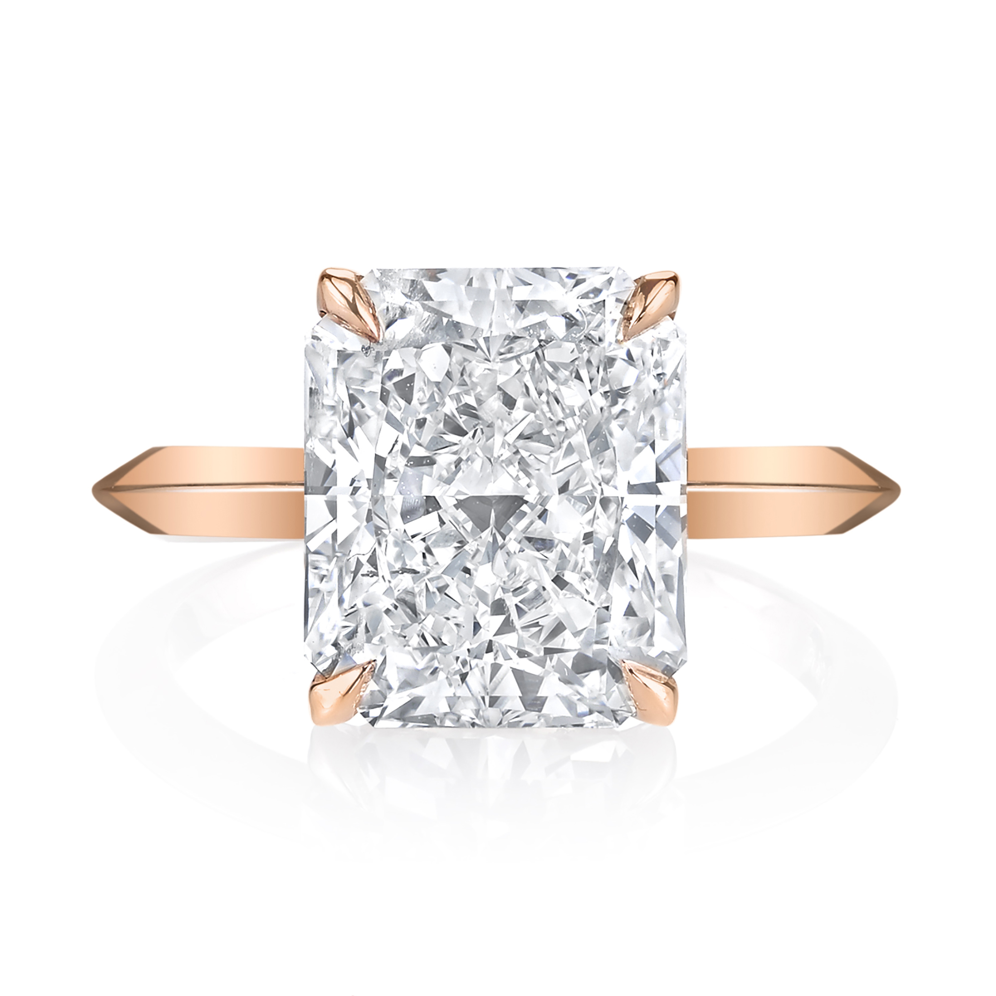 Custom 4ct. Radiant Cut Rose Gold Engagement Ring
