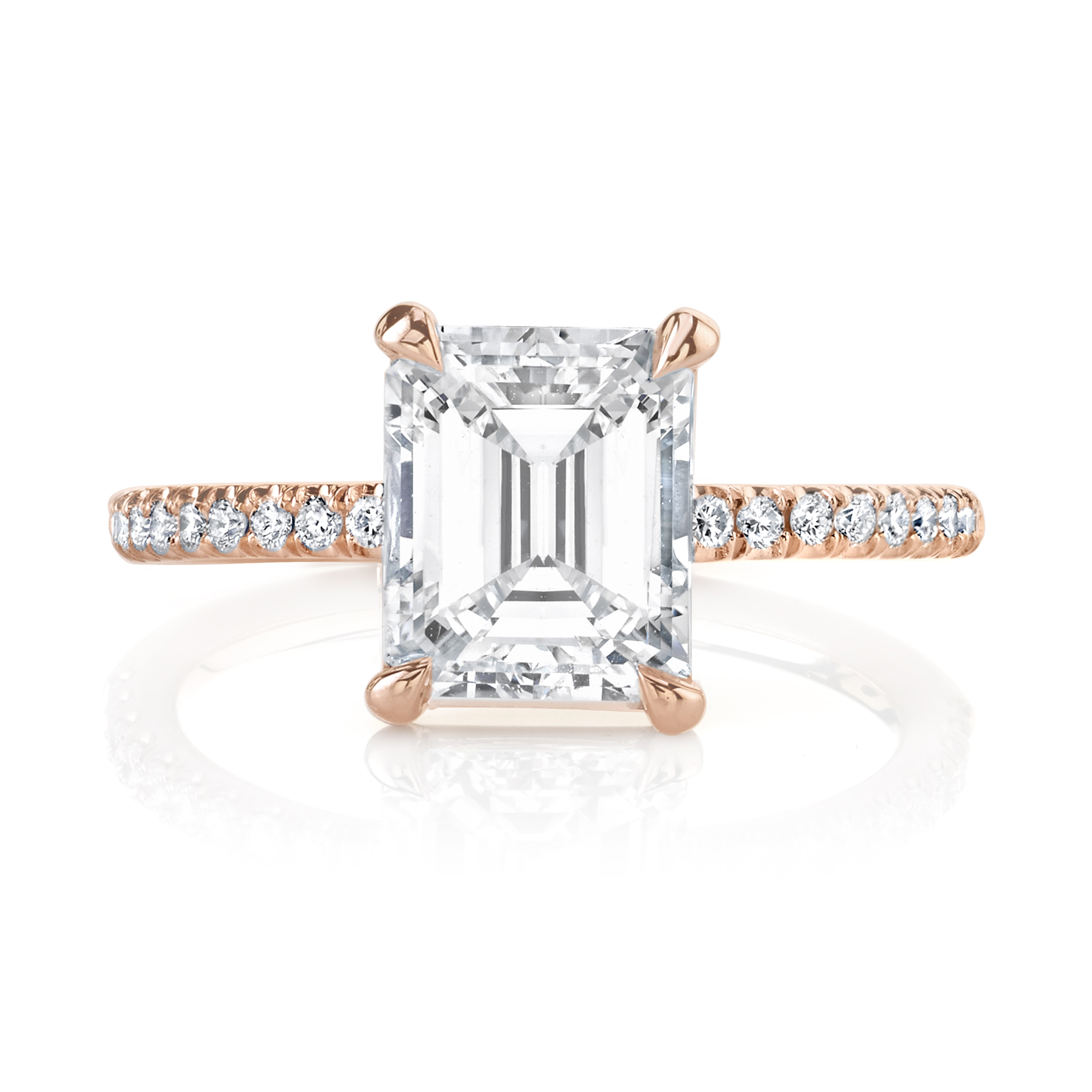 Custom 1.43ct. Emerald Cut Rose Gold Engagment Ring
