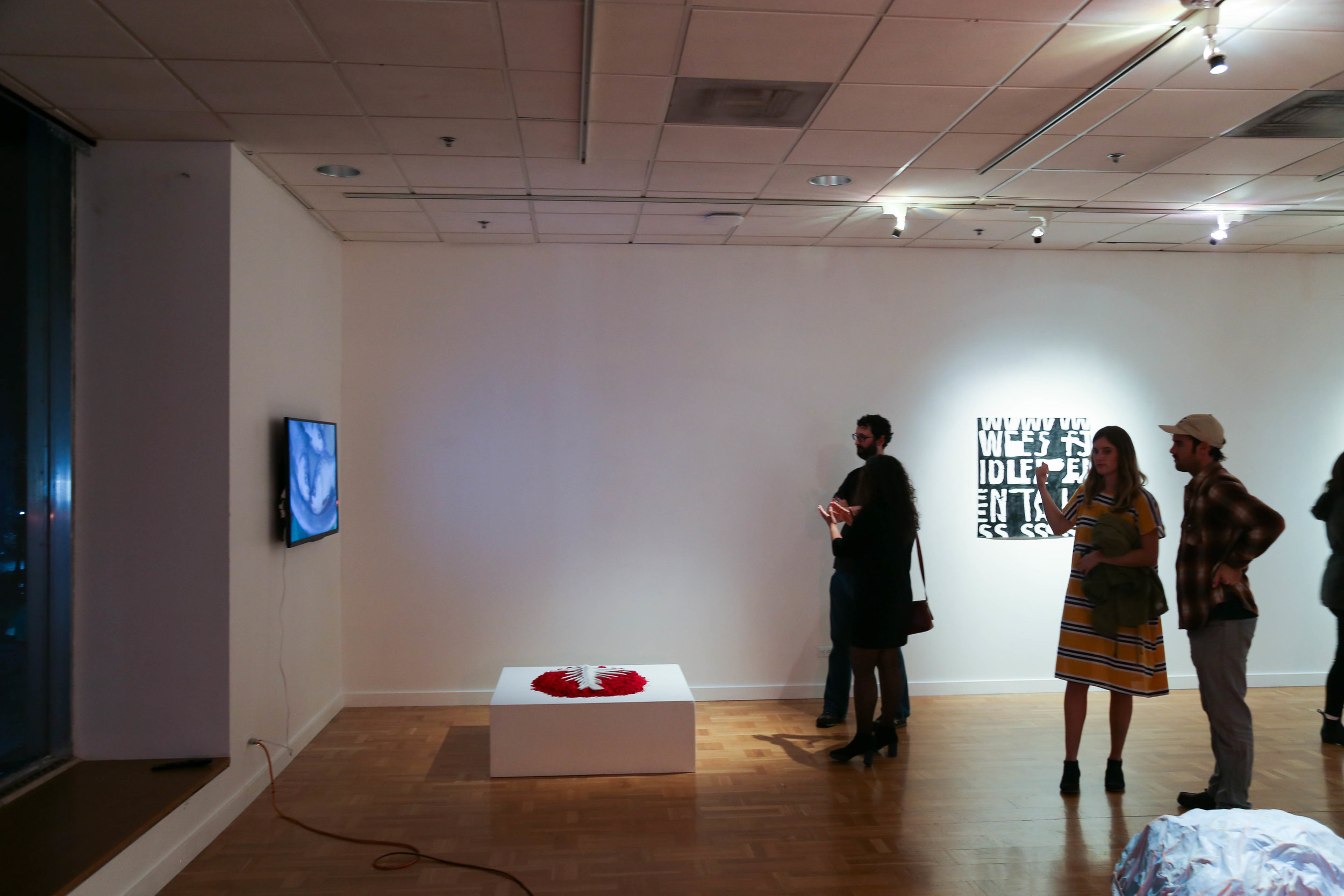 Work by Garima Thakur (video and sculpture) and Flynn Casey (painting)