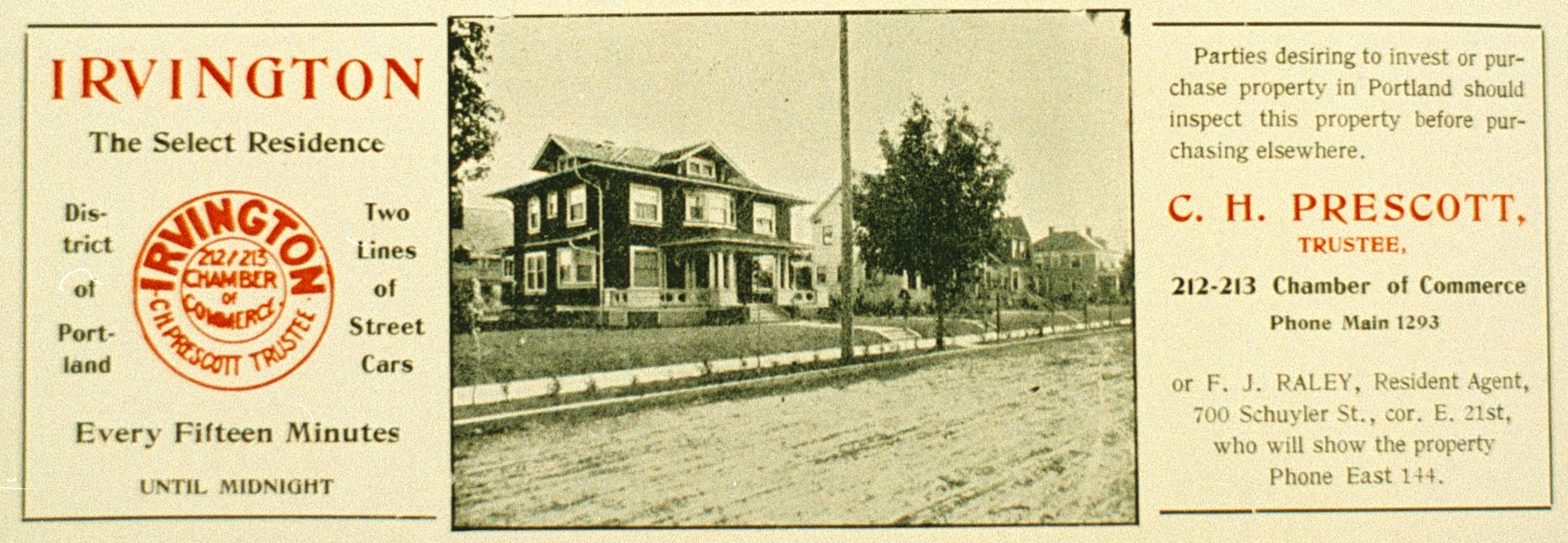1912 ad promoting Irvington home sales