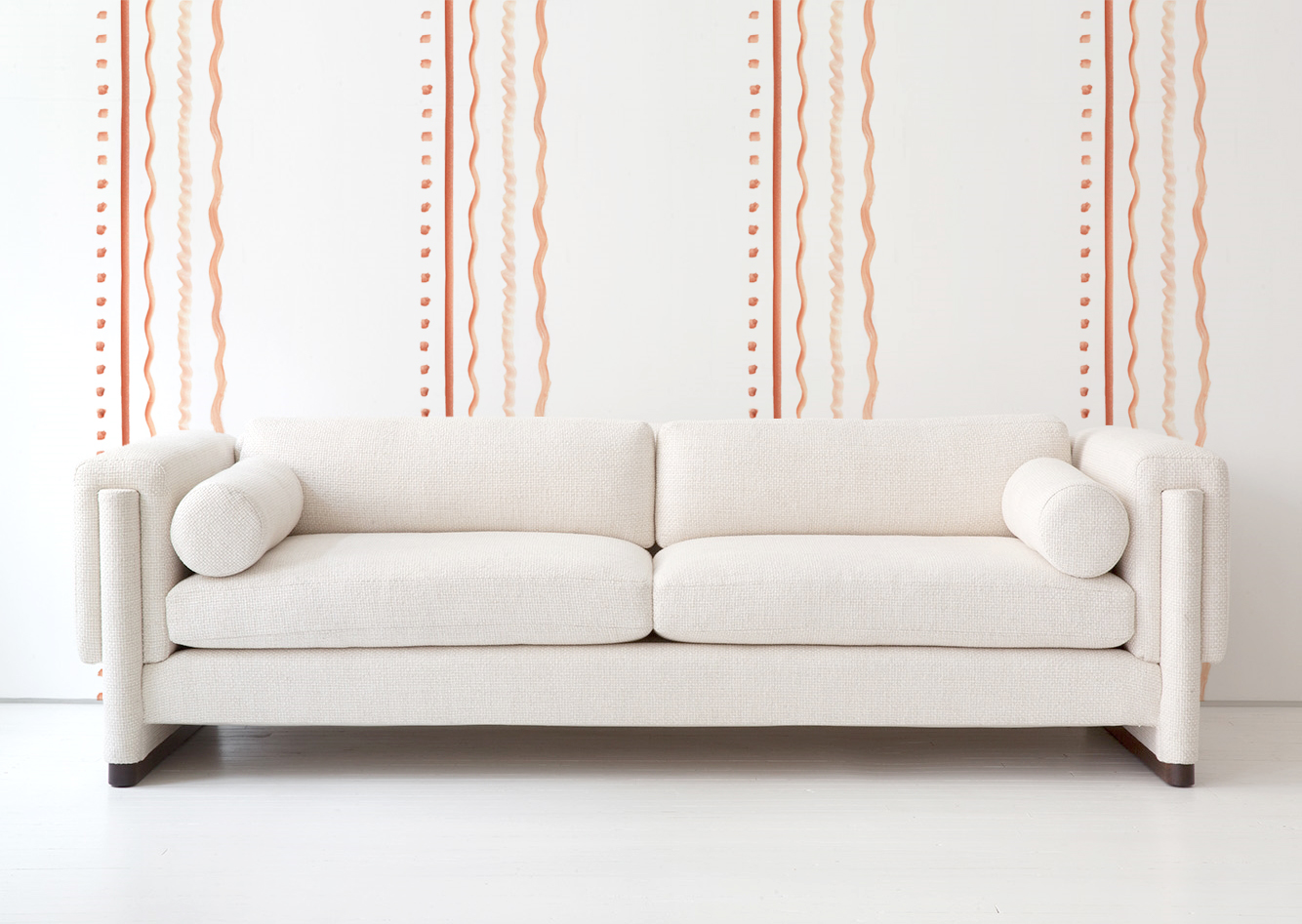 Features  New Deco: Palais Reposable Wallpaper  with the Howard Sofa by Egg Collective.  Visit the SHOP for details!