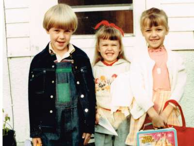 First day of school for our kids in Swanville, MN MANY years ago.