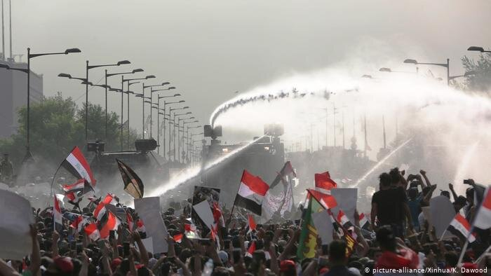 Thousands protest in Baghdad due to governmental failure to provide basic services.