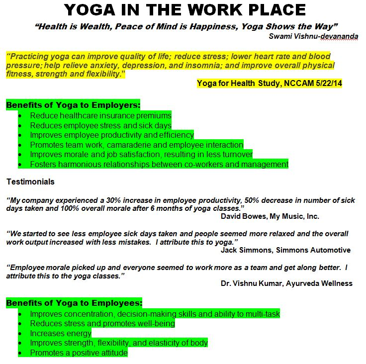 Yoga In The Workplace Divine Life Yoga Society