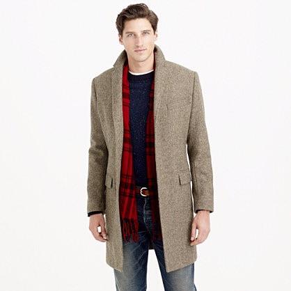 J.CREW : Wool Topcoat in Dusty Brown Herringbone $349.99