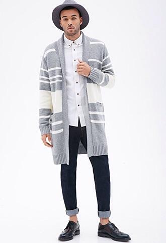 Forever 21 :  Striped Shawl Collar Cardigan $34.90