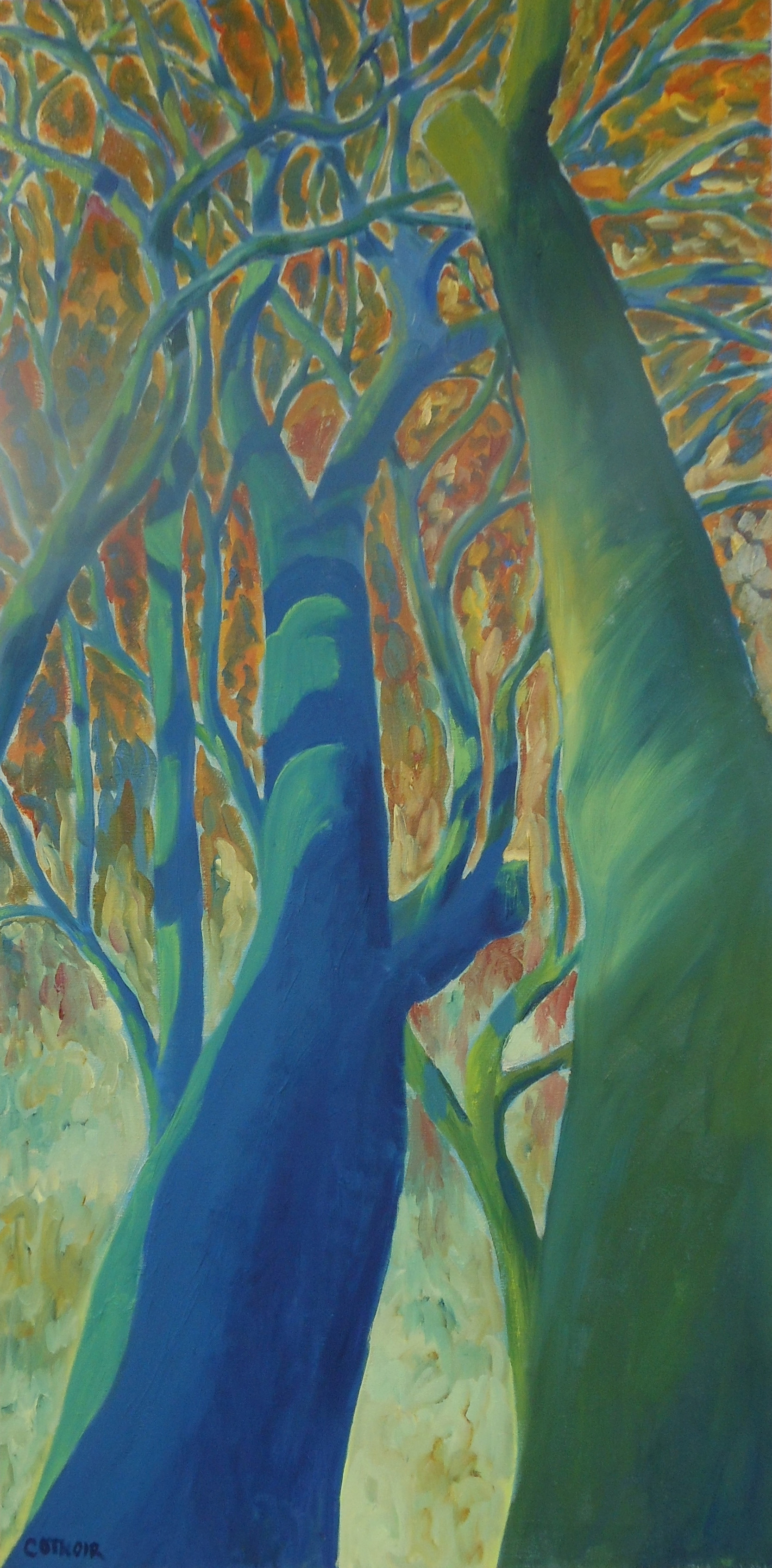 Shadow Trees in Blue and Green