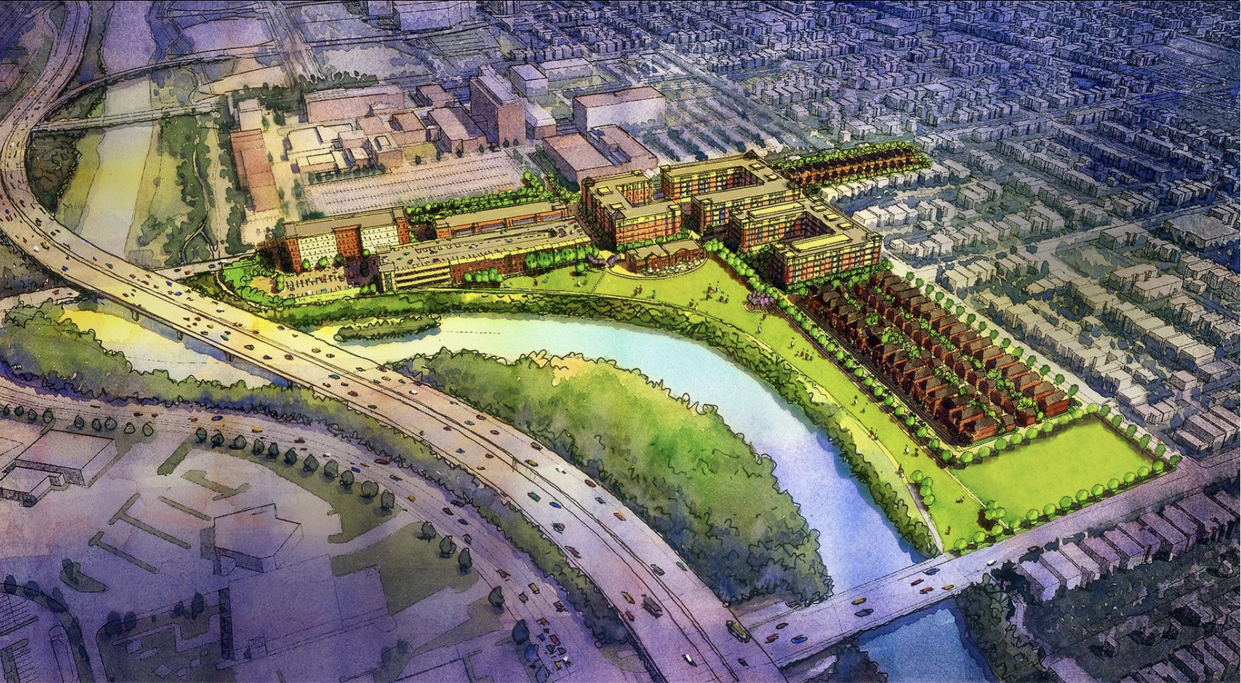 Aerial site rendering of proposed development on Battelle site.