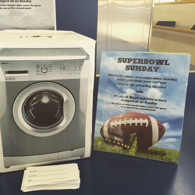 Super bowl Wash and win @highlandlaundry Watch the game while you do your laundry and enter for a chance to win a best buy gift card. Snacks and 10% off all Wash and Fold orders dropped off today. #superbowlfun #hollywoodlaundromat #visitustoday
