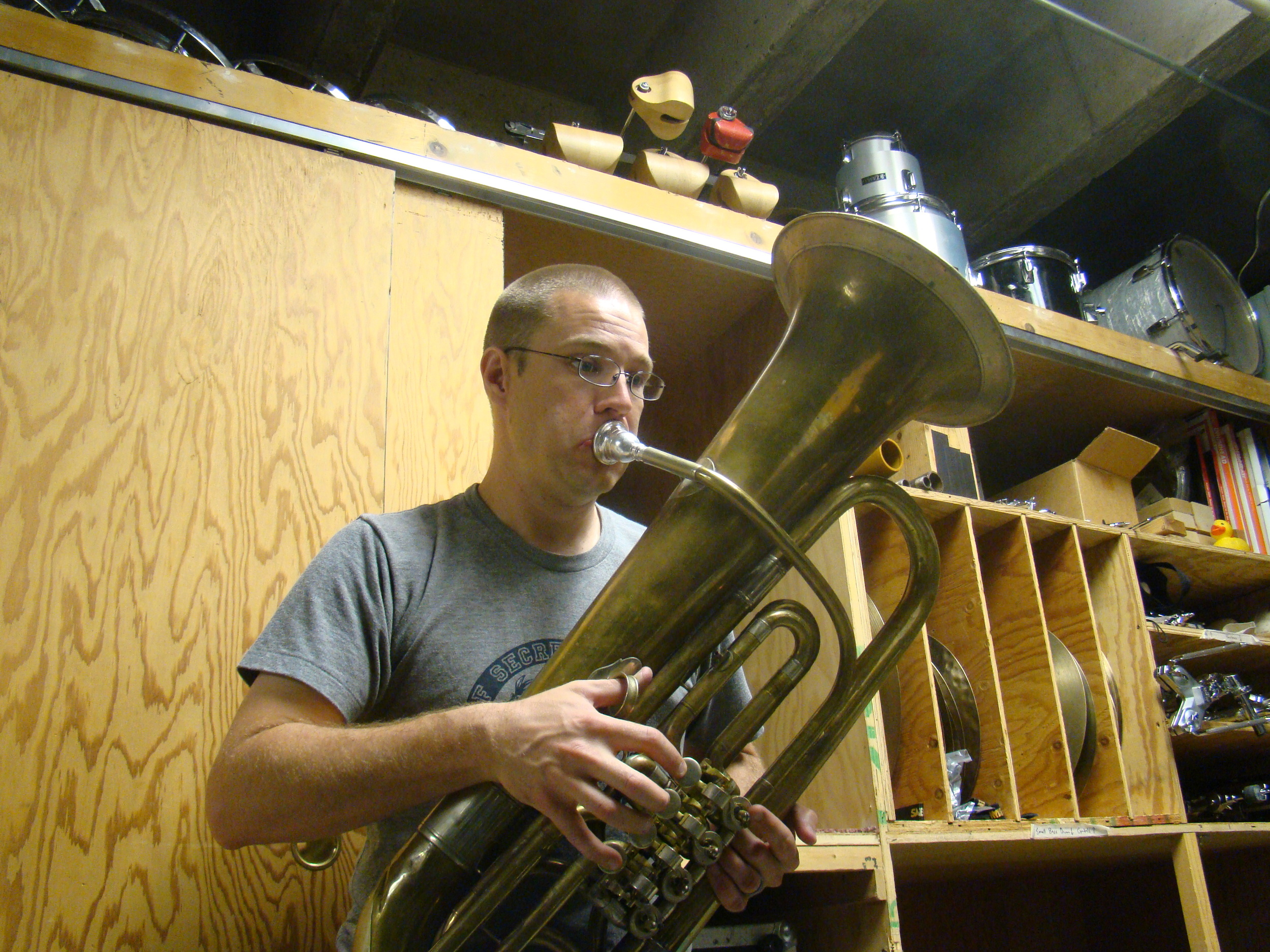 Adam playing a 19th-c. Schmidt F tuba originally owned by Kilton Vinal Smith of the Boston Symphony Orchestra.