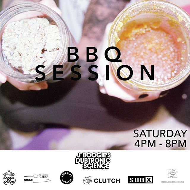 Burgers, terps, and beats by @jboogiejustin 🔊🍔💨 session starts at 4pm! #clutchlife