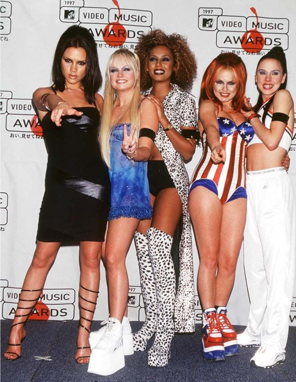 "Photo from The Telegraph  Geri Halliwell ""Ginger Spice""  Melanie Chisholm ""Sporty Spice""  Melanie Brown ""Scary Spice""  Emma Bunton ""Baby Spice""  Victoria Beckham (Adams) "" Posh Spice"""