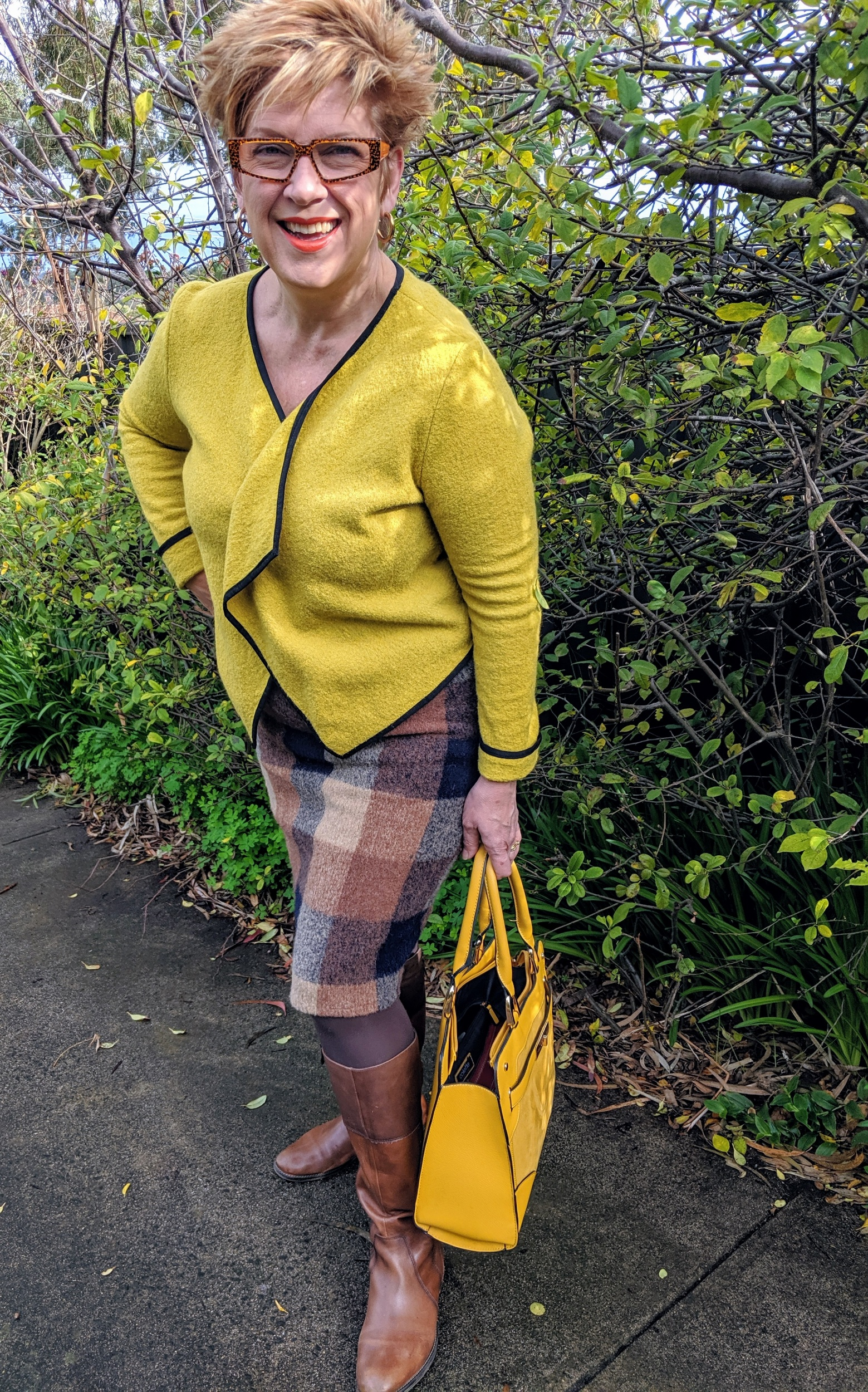 """This outfit """"destash jacket"""" with Foldover Elastic and an elastic waist pull on skirt in Italian Sweater Wool. A kilt pin to keep it all together."""