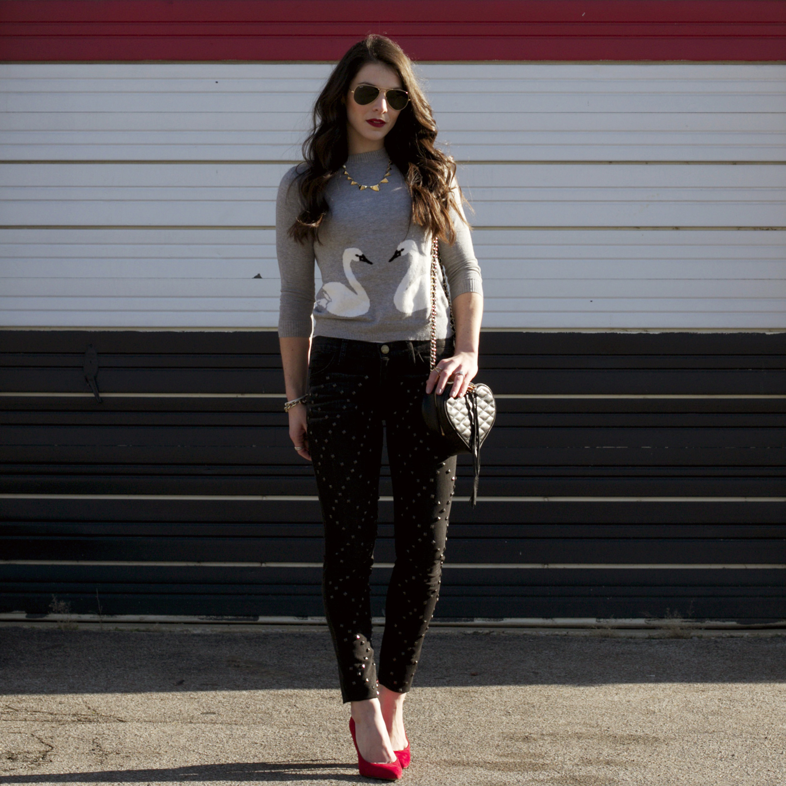 Valentine's Day Outfit, Red Pumps, Rebecca Minkoff Heart Bag, Swan Heart Sweater