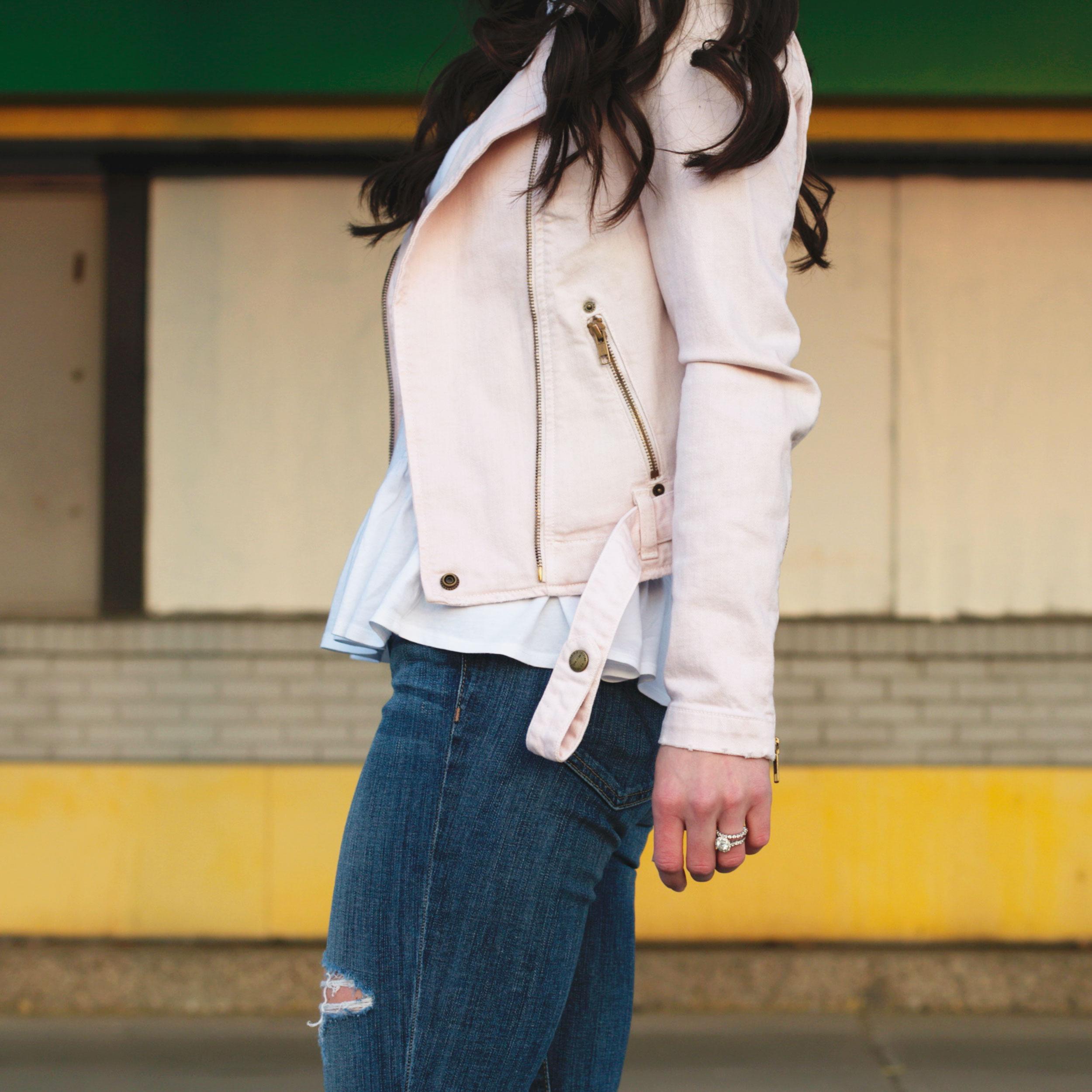 Current Elliott Denim Motorcycle Jacket, Peplum T-Shirt, Destroyed Joe's Jeans, White Chuck Taylors, Spring Style, Fashion Blogger