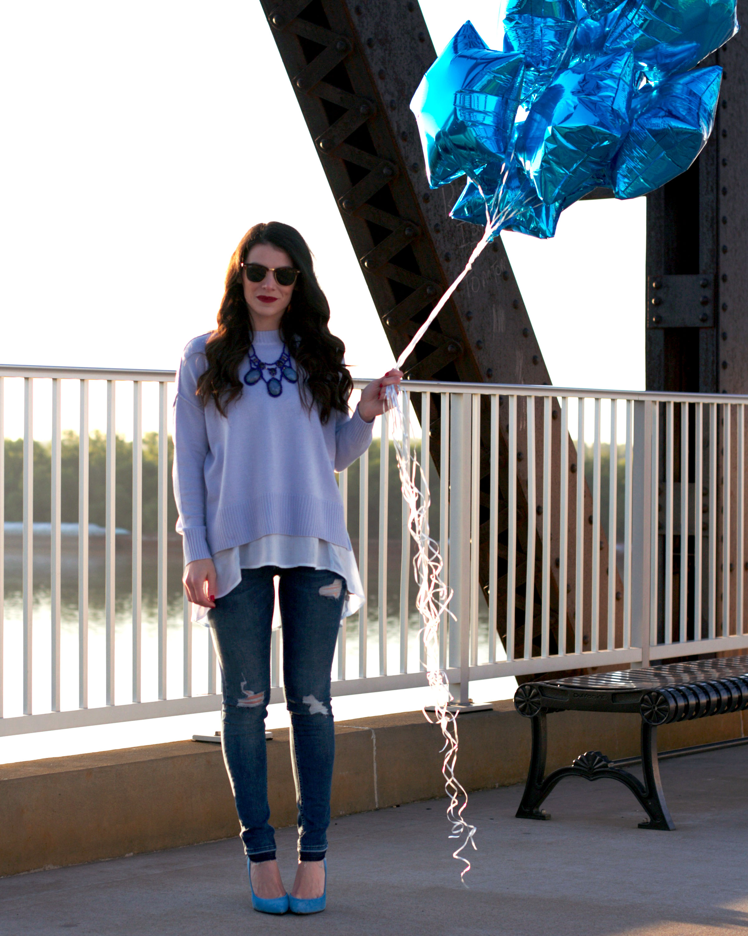 Fashion Blogger, Spring Layering, Spring Sweater, Monochromatic Outfit, Blue Star Balloons, Birthday Balloons, J.Crew Field Jacket, Sunflowers, Cole Haan Handbag, Jessica Simpson Claudette Pumps