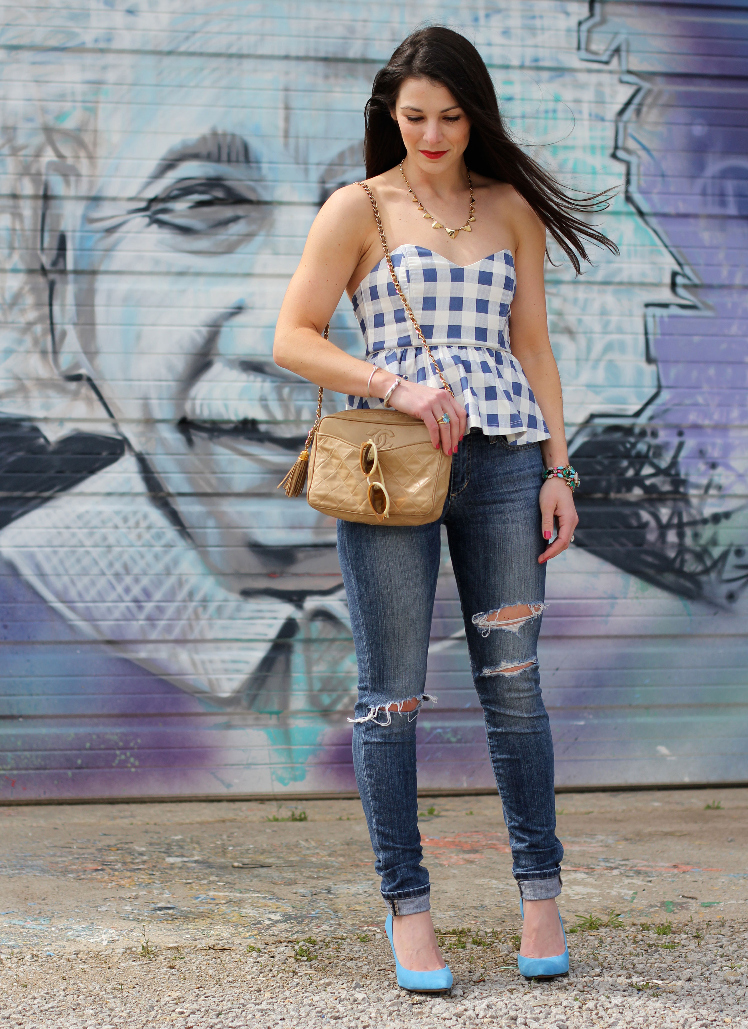 Gingham Top, Distressed Joe's Jeans, Blue Jessica Simpson Claudette Pumps, Vintage Chanel Bag, Tory Burch Sunglasses, Spray Paint Mural