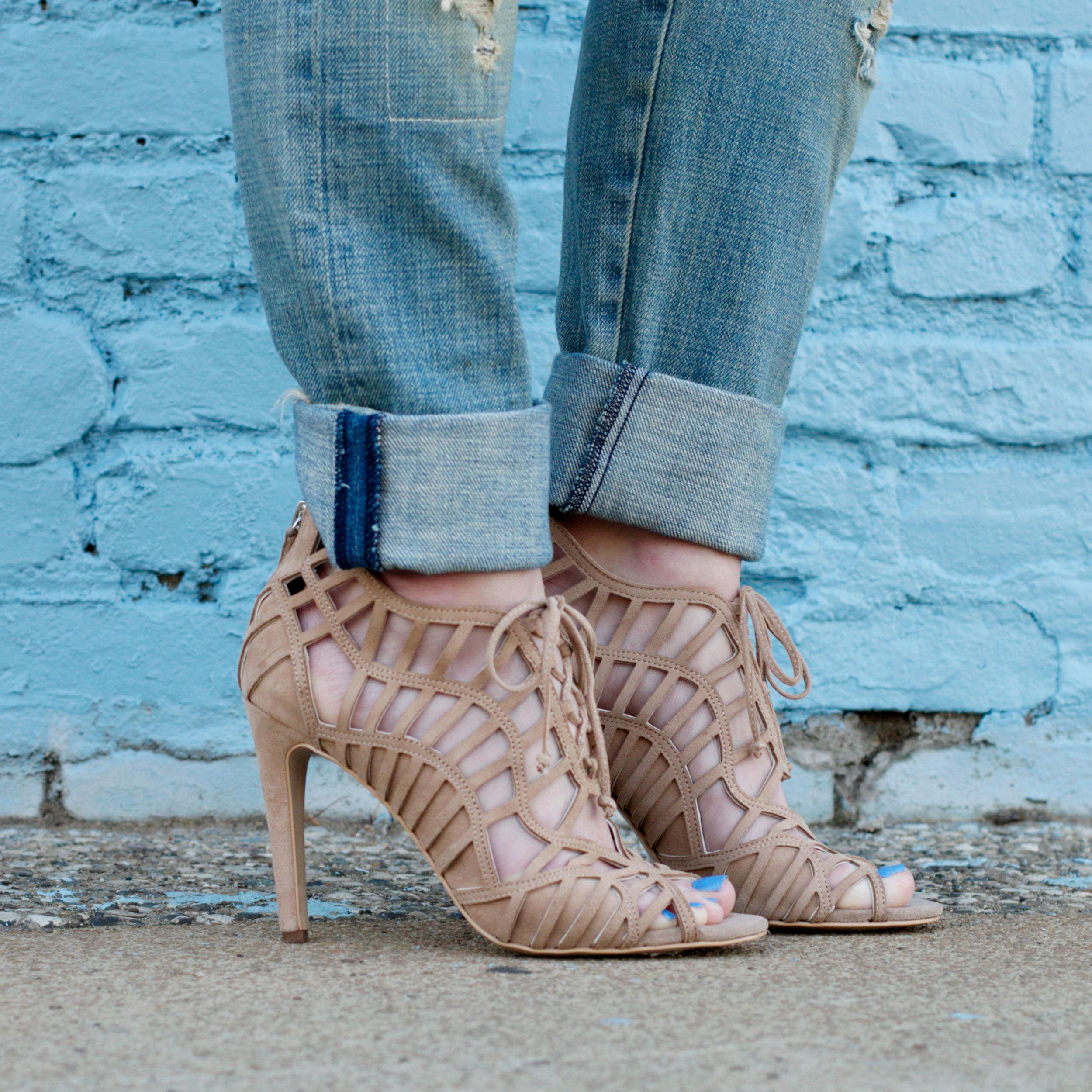 Dolce Vita Caged Heel Sandals, Nude Sandals, Current Elliott Boyfriend Jeans
