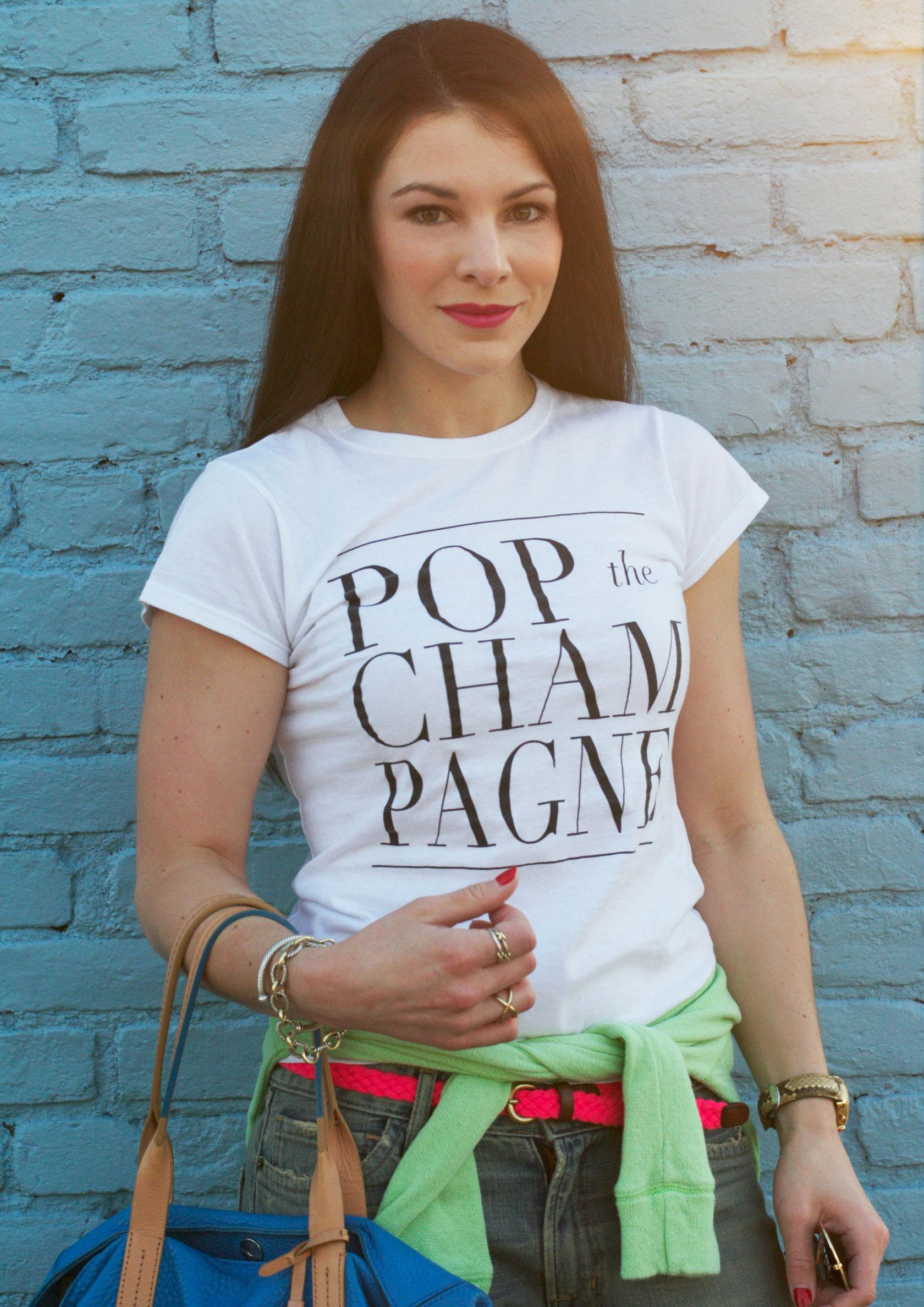 POP The Champagne T-Shirt, T&J Designs, Current Elliott Boyfriend Jeans, Neon Pink Belt, Neon Green Sweatshirt, Blue Cole Haan Handbag, Fashion Blogger, Summer Style