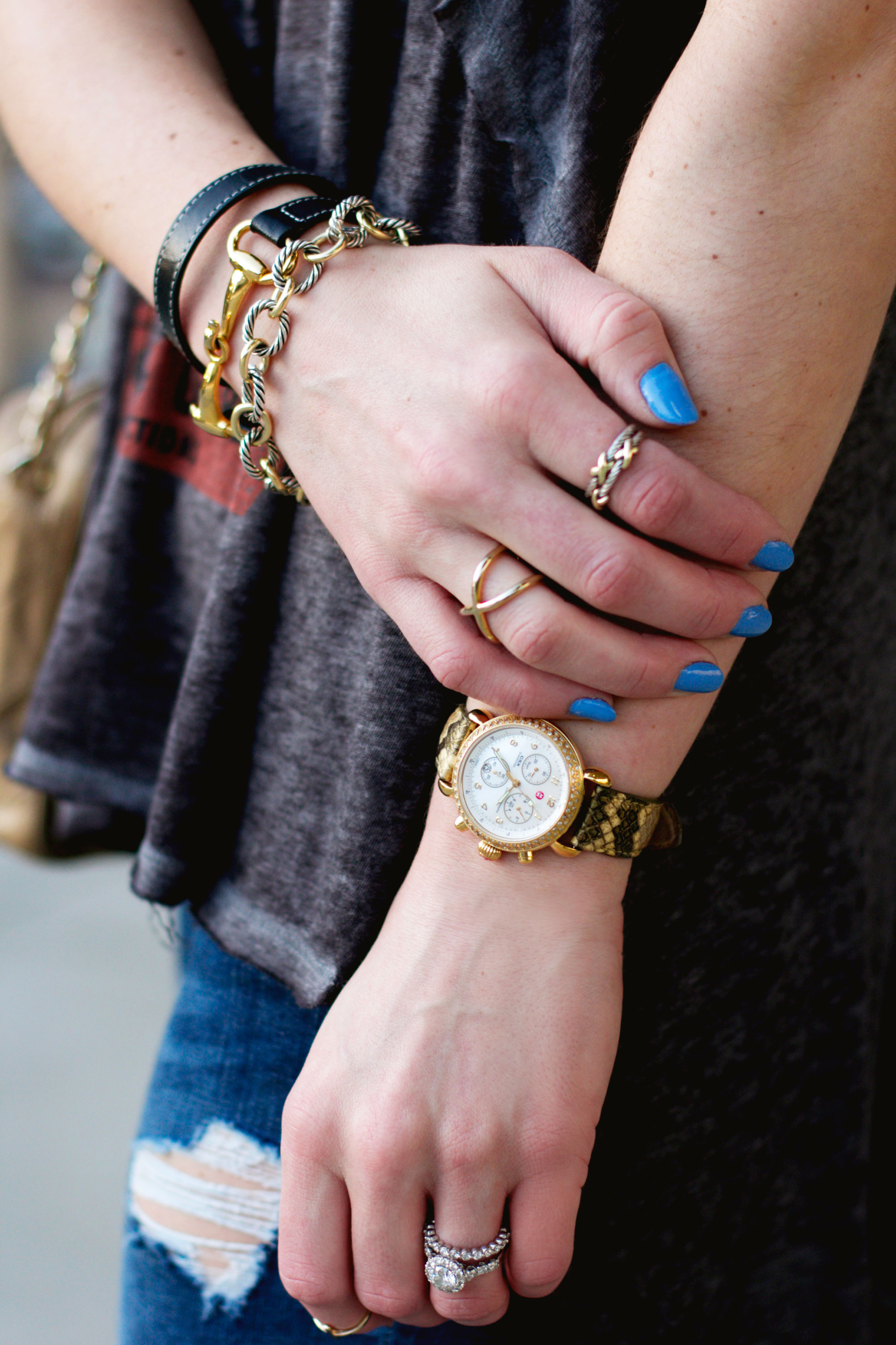 "David Yurman Bracelets, Michele Gold Watch with Diamonds, Sally Hansen Insta-Dri ""Set Sail"" Blue Nail Polish"