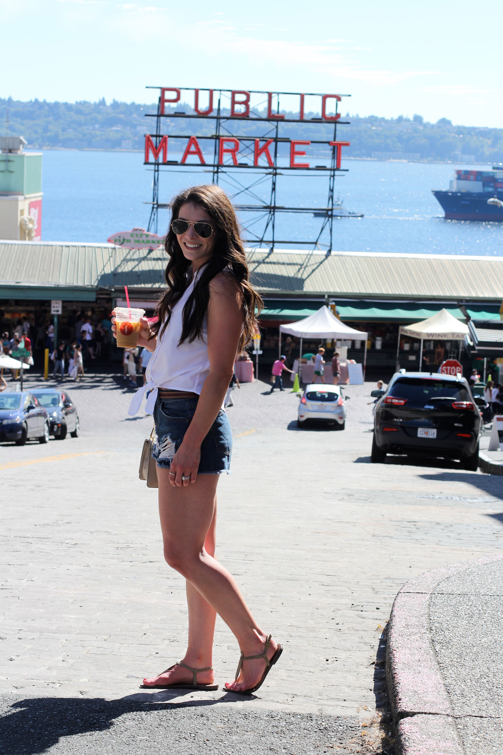 Seattle Fashion Blogger, Pike Place Market, Summer Style, White Button Up, Tie Blouse, Cutoff Denim Shorts, Sam Edelman Gigi Sandals