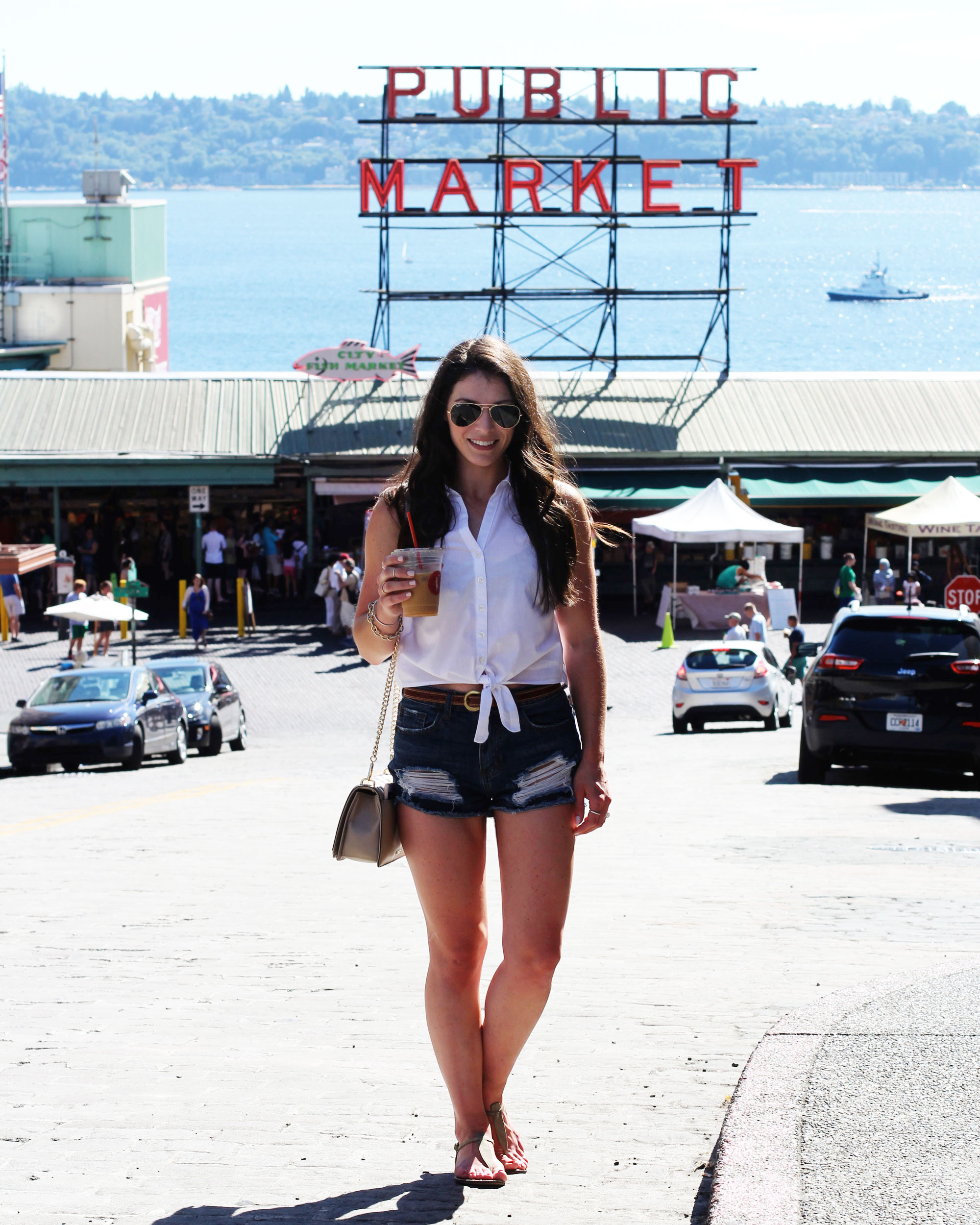 Seattle Fashion Blogger, Pike Place Market, Summer Style, White Button Up, Tie Blouse, Cutoff Denim Shorts, Sam Edelman Gigi Sandals
