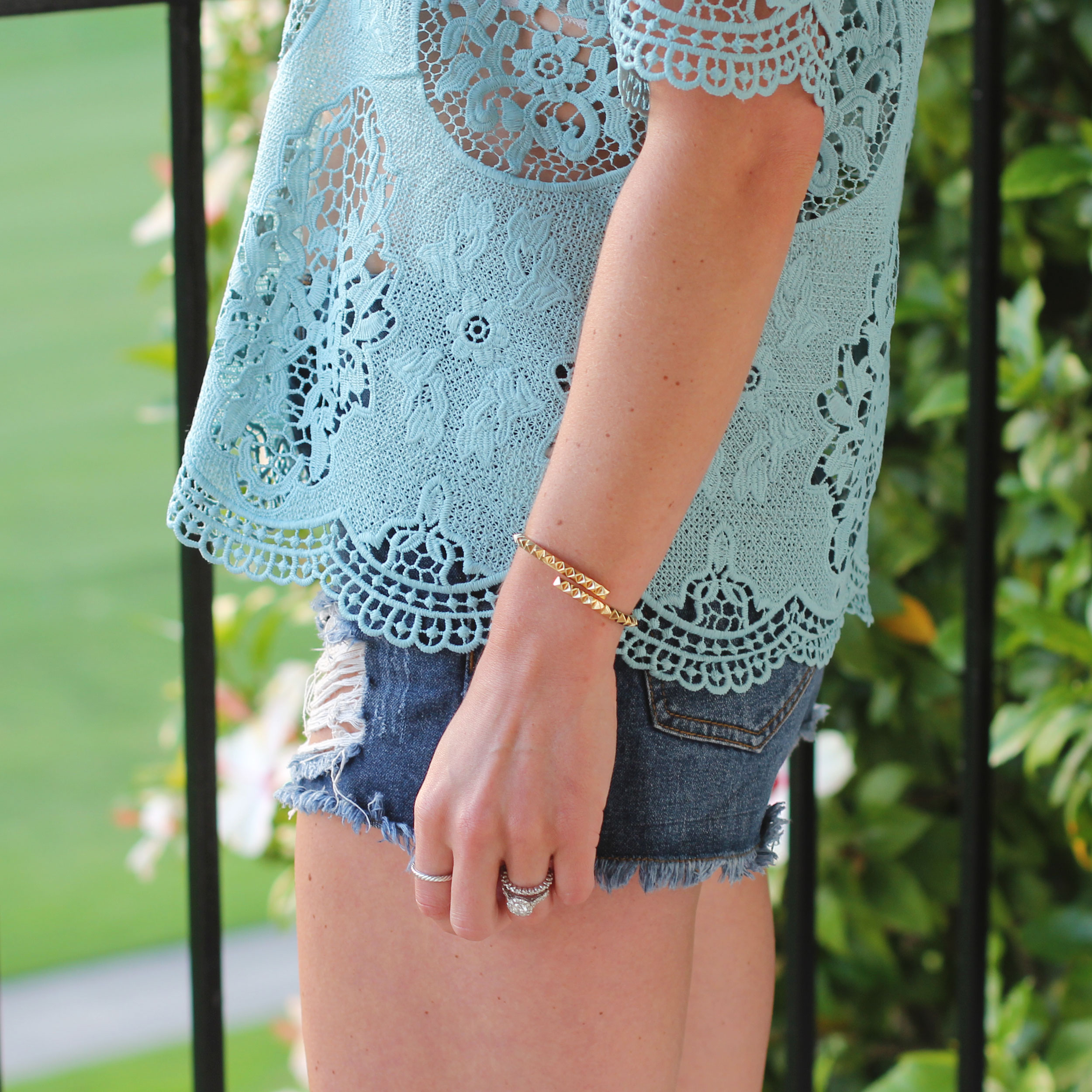 J.O.A Lace Top, Tory Burch Sunglasses, House of Harlow 1960 Necklace, Cutoff Jean Shorts, Ankle Wrap Sam Edelman Sandals, Nude Sandals, Fashion Blogger Summer Style