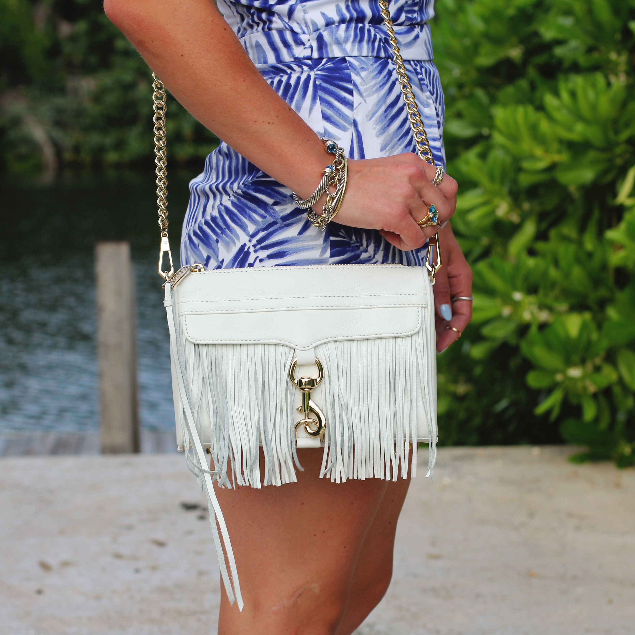 Sam Edelman Strappy Romper, Leaf Print, Rebecca Minkoff Mini MAC Fringe, Vacation Style, Top Knot, Fashion Blogger, David Yurman Cable Classics, Grand Cayman Ritz Carlton