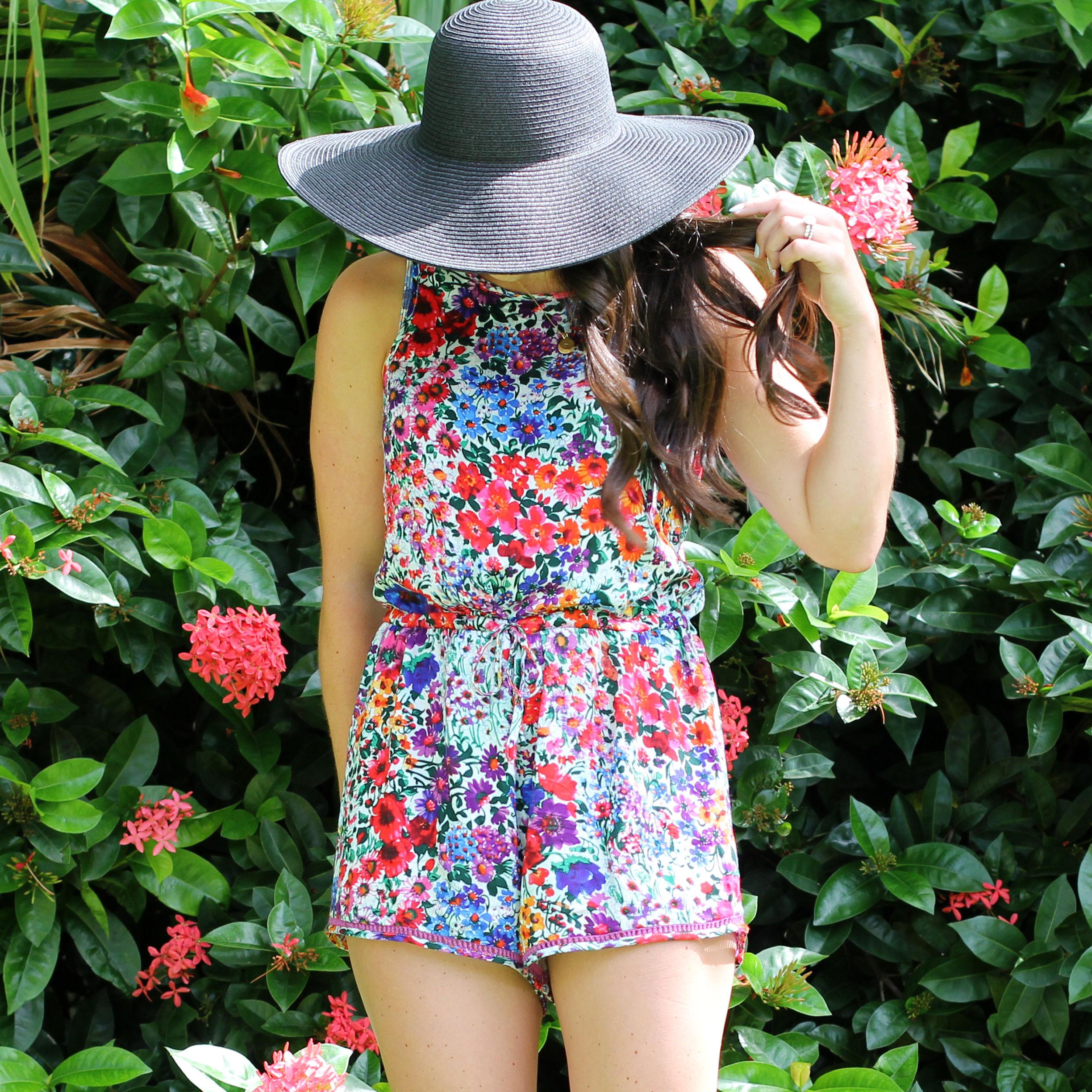 MINKPINK Secret Garden Romper, Summer Style, Beach Hat, J.Crew Floppy Hat, Ray-Ban Aviator Sunglasses, Beach Fashion