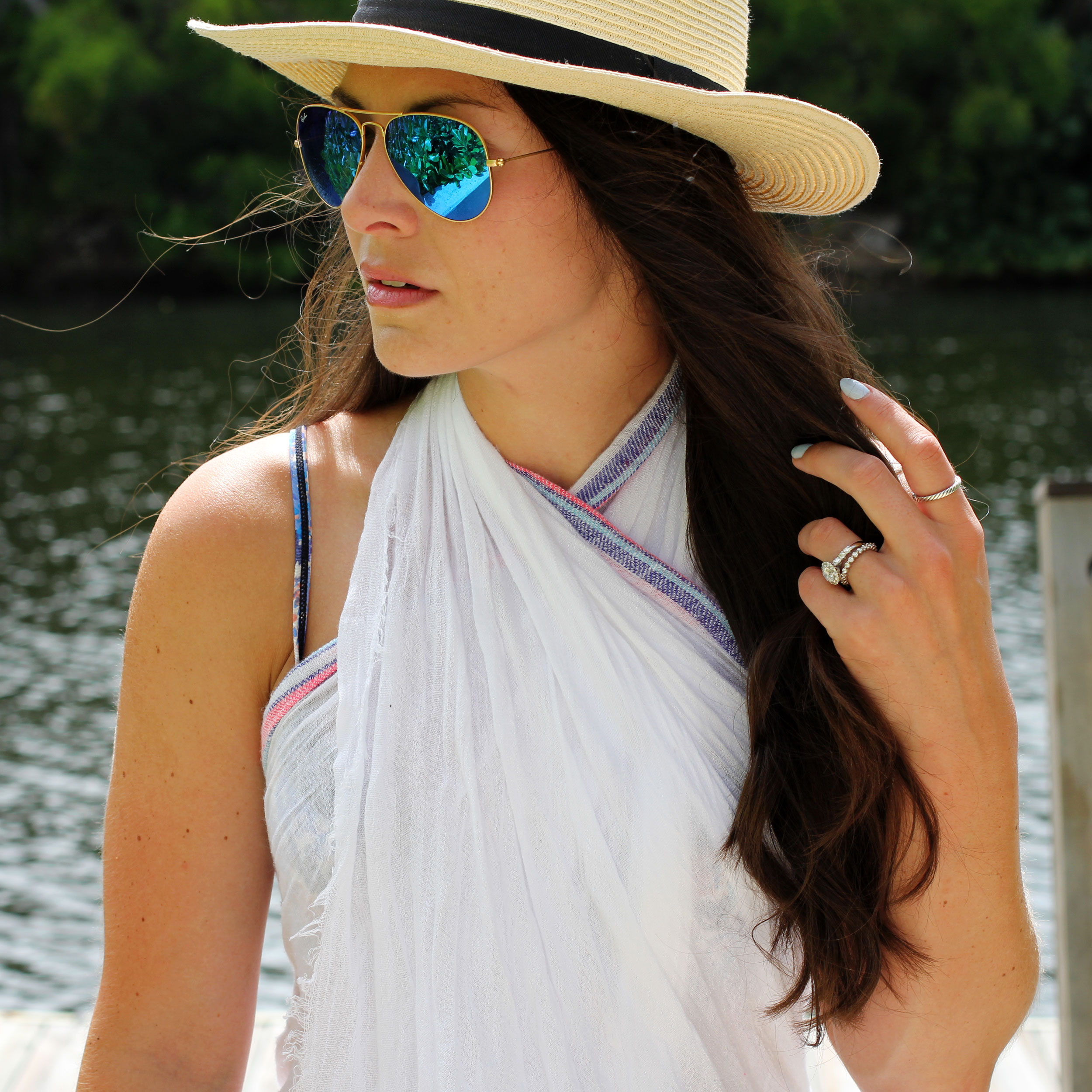 Summer Fashion, Pareo, Swimsuit Cover-up, Beach Hat, Ray-Ban Aviators, Grand Cayman
