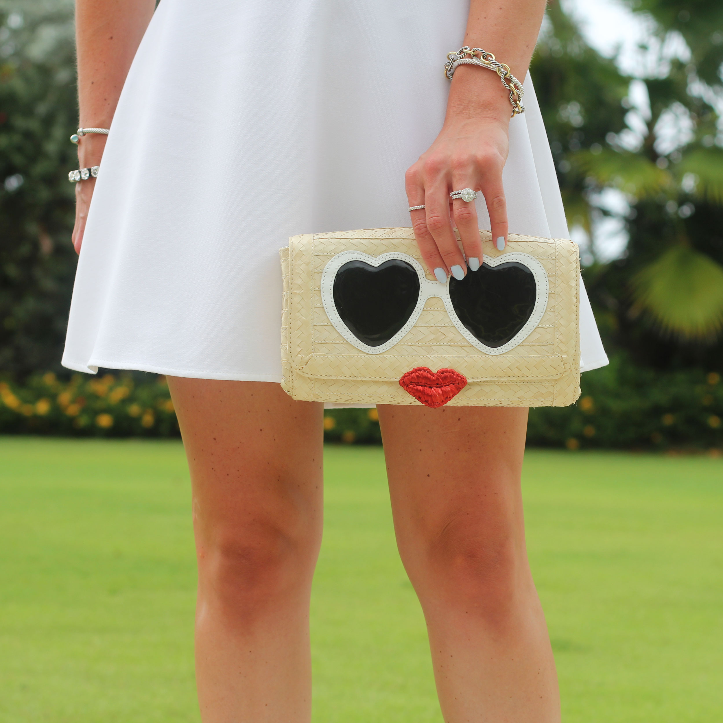French Connection Feather Ruth Fit and Flare Dress, Little White Dress, Summer Style, Vacation Fashion, Kate Spade Clutch, Seychelles Shoes, David Yurman Bracelets