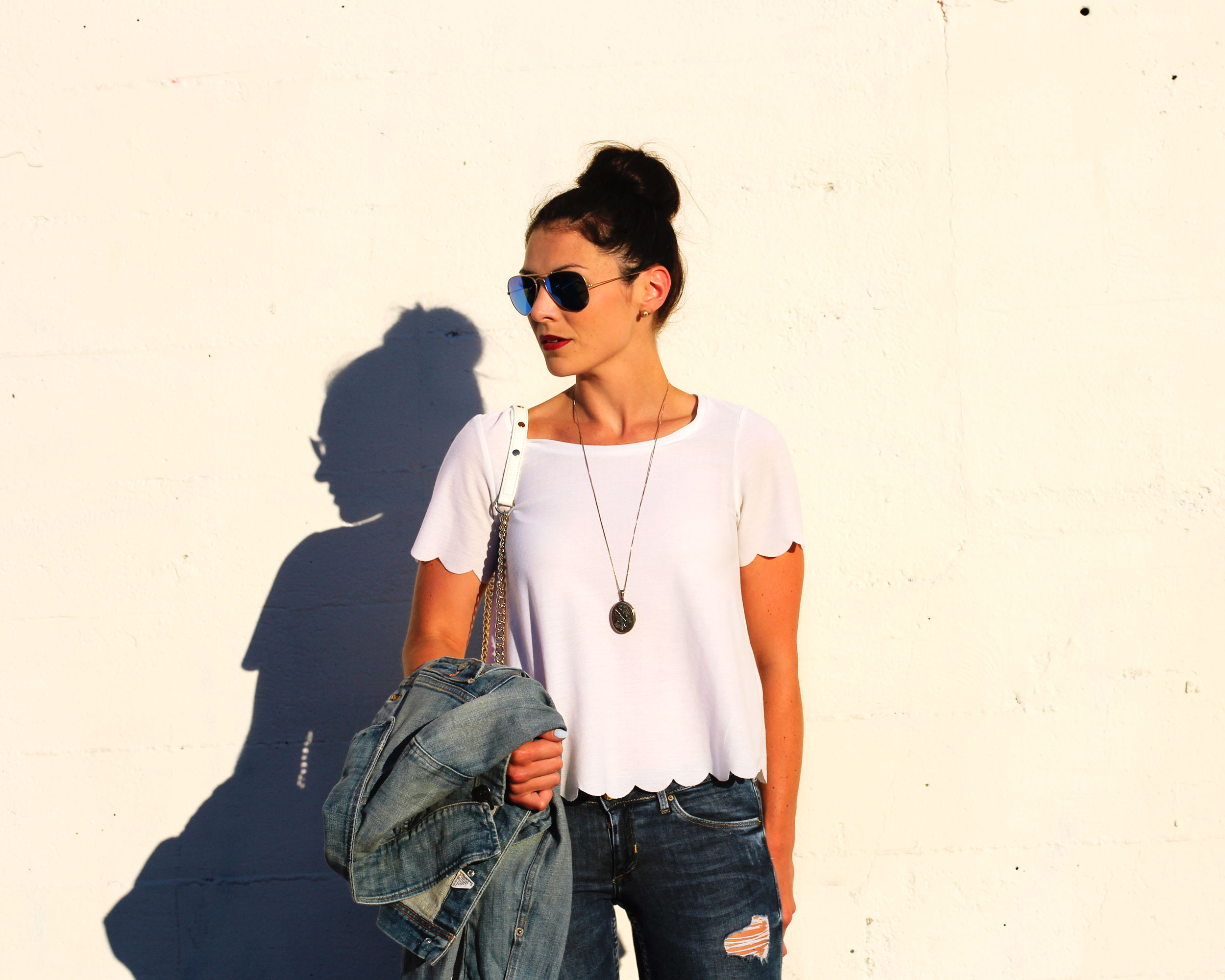 Topshop Scallop Frill Tee, J.Crew Denim Jacket, Rebecca Minkoff Mini MAC Fringe, Ray-Ban Mirrored Lens Aviators, Dolce Vita Sandals, Vintage Locket Necklace