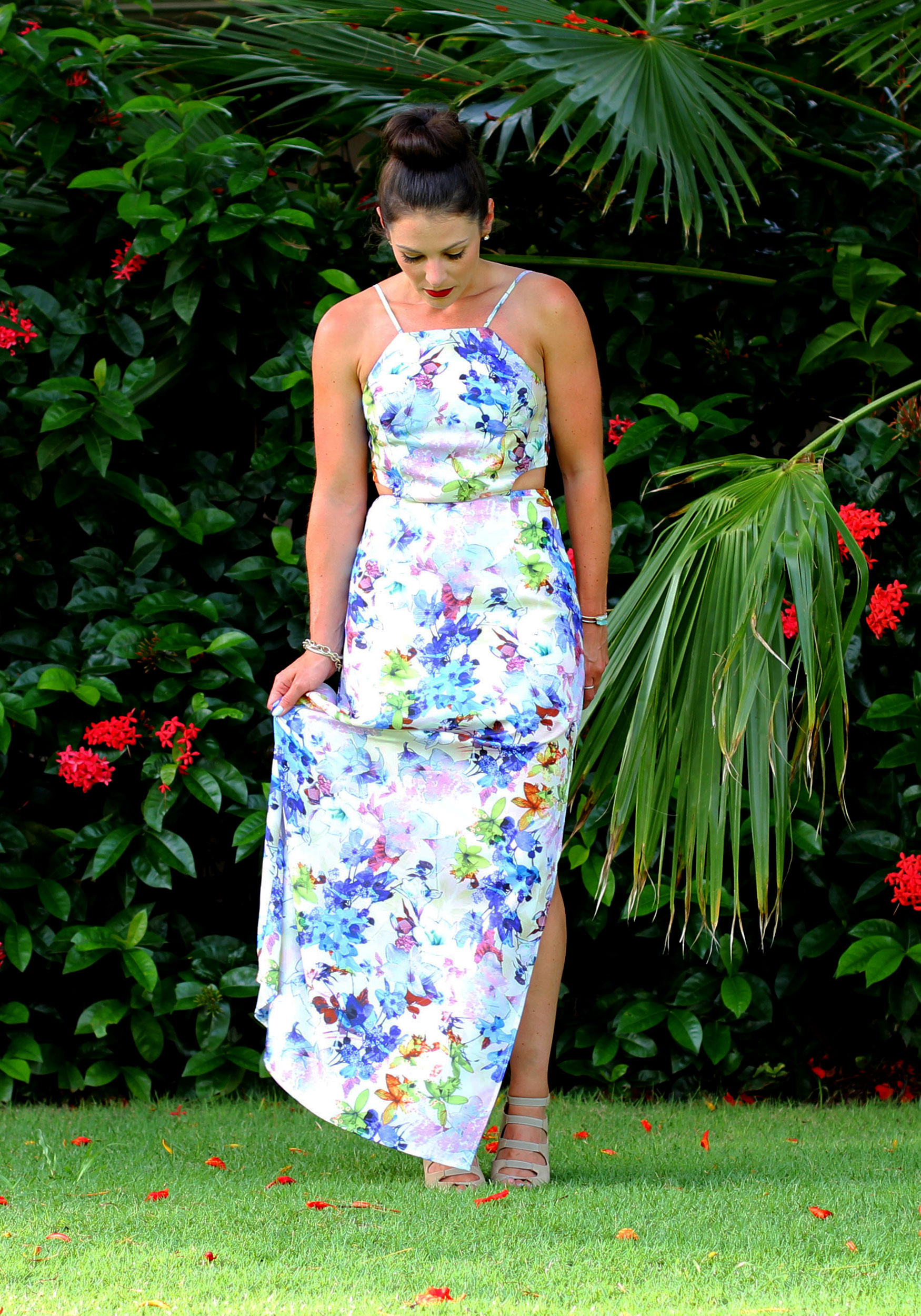 JOA Floral Maxi Dress, Summer Style, Just One Answer, Vacation Fashion, Tropical, Fashion Blogger, Top Knot, Rebecca Minkoff Fringe Mini MAC, David Yurman Bracelet