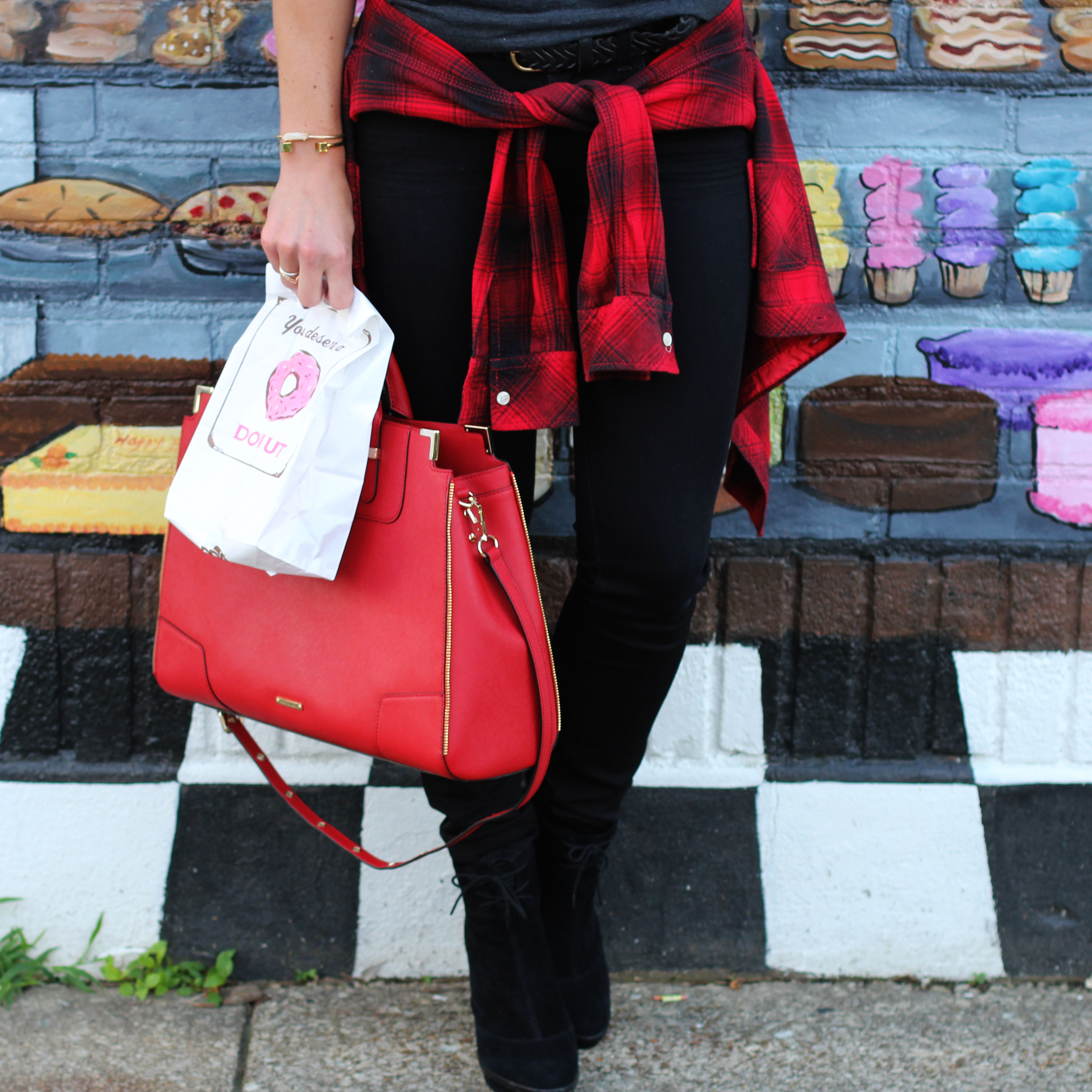 Doughnuts Over Everything Tee, Nord's Bakery Louisville, Maple Bacon Doughnuts, J Brand Skinny Jeans, Plaid Shirt, House of Harlow 1960 Necklace, Rebecca Minkoff Amorous Satchel, Donuts